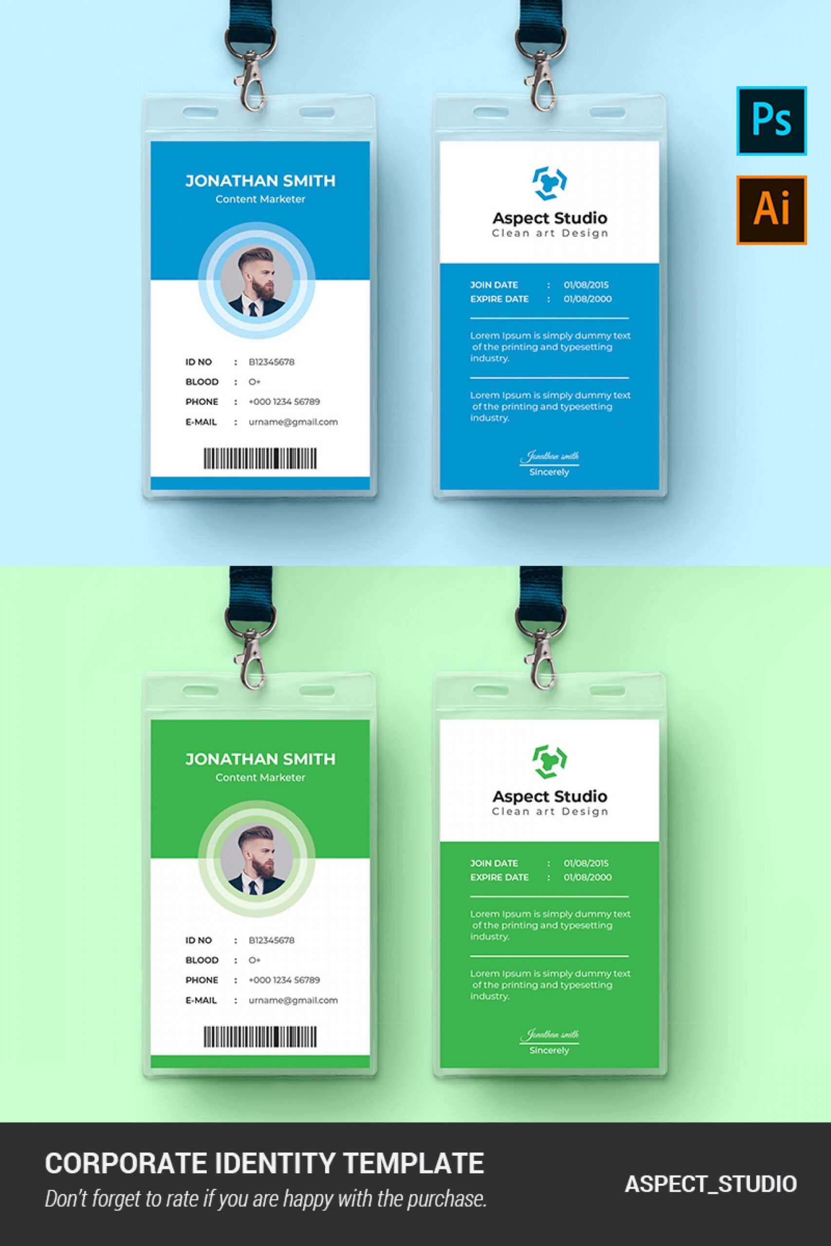 001 Employee Id Card Template Ai Free Download Ideas Blue For Id Card Template Ai