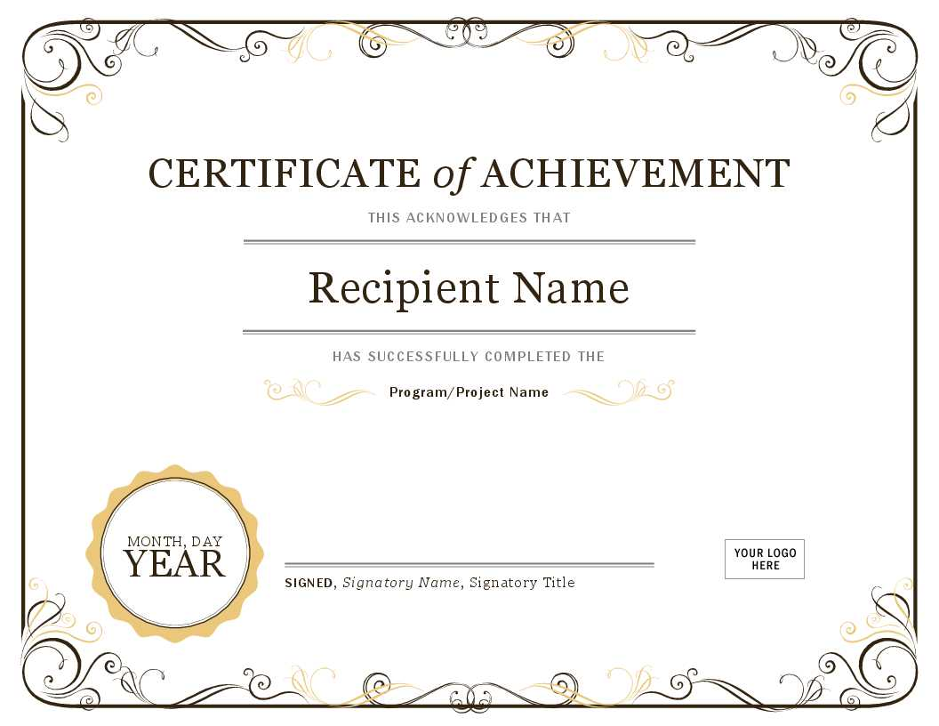 001 Word Certificate Template Download Of Achievement Image With Word Certificate Of Achievement Template