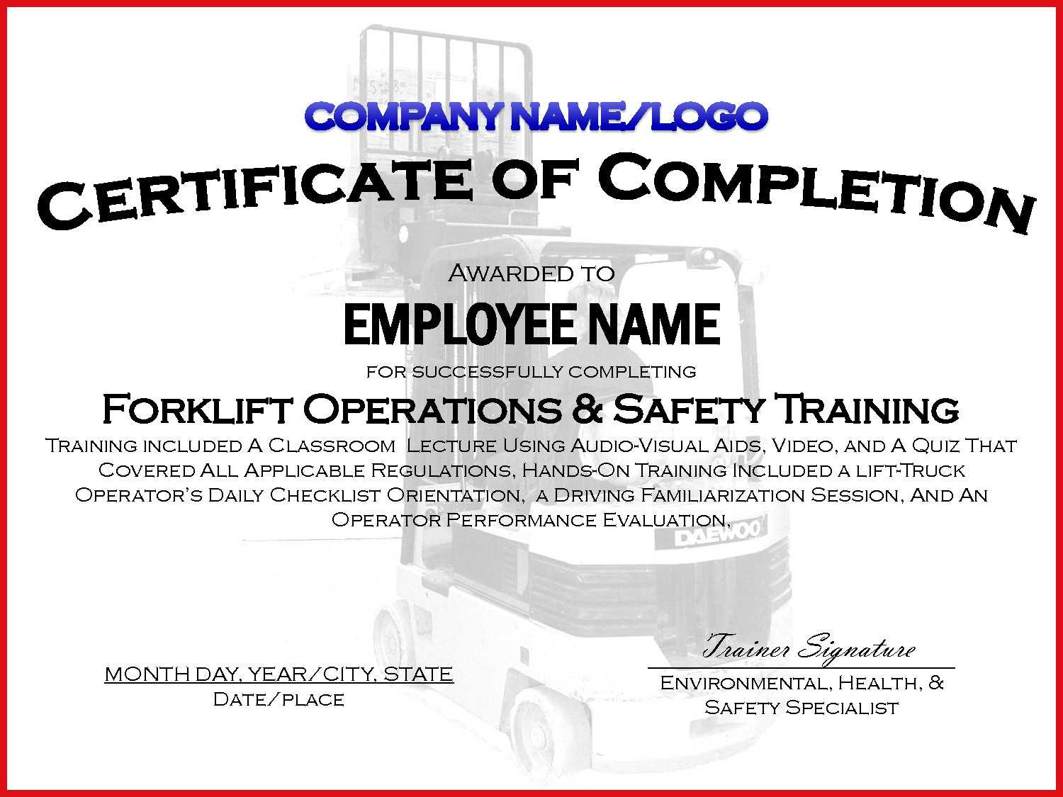 002 Forklift Truck Training Certificate Template Free Osha Regarding Forklift Certification Template
