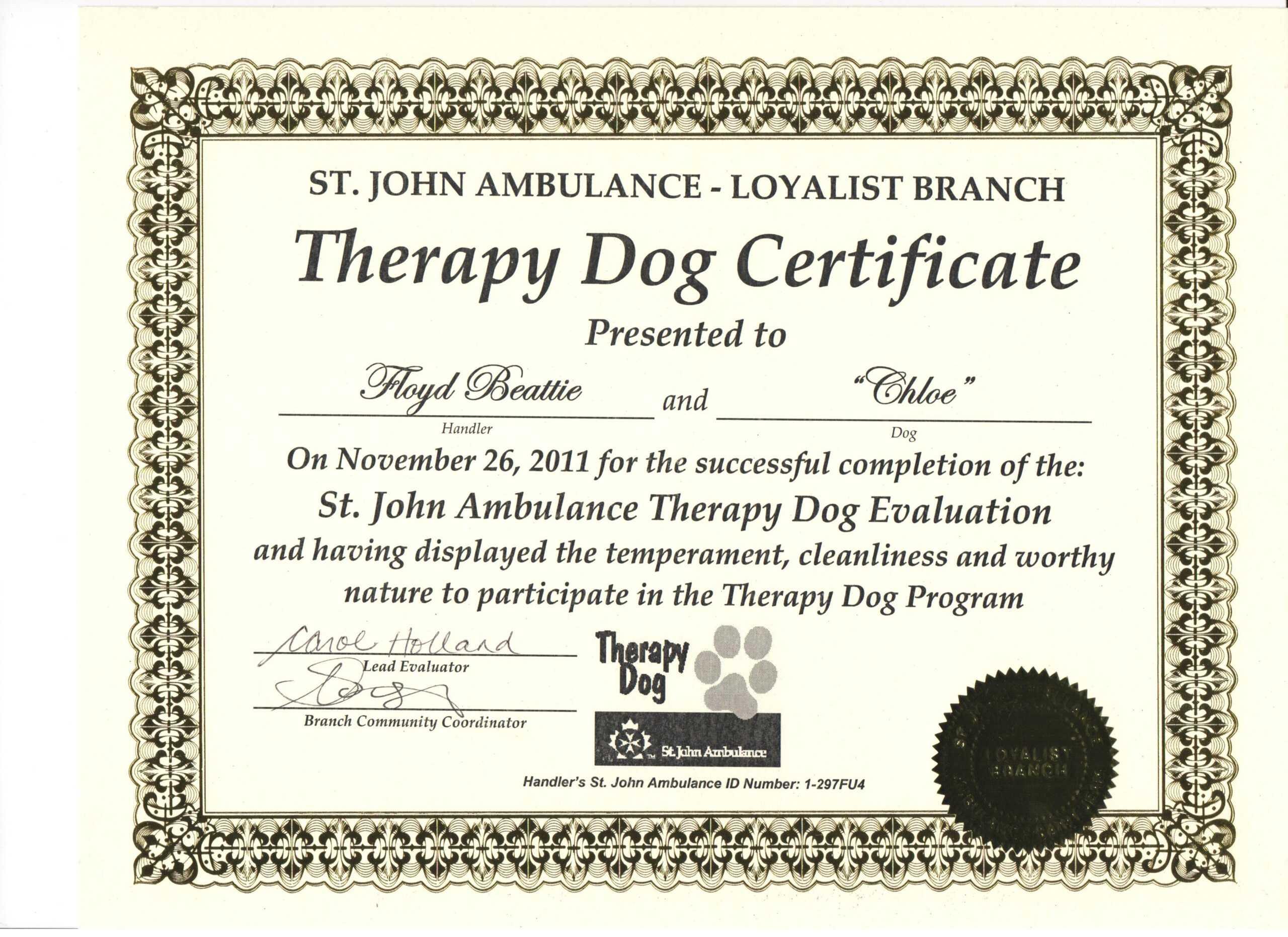 002 Service Dog Certificate Template Free Ideas Therapy With Service Dog Certificate Template