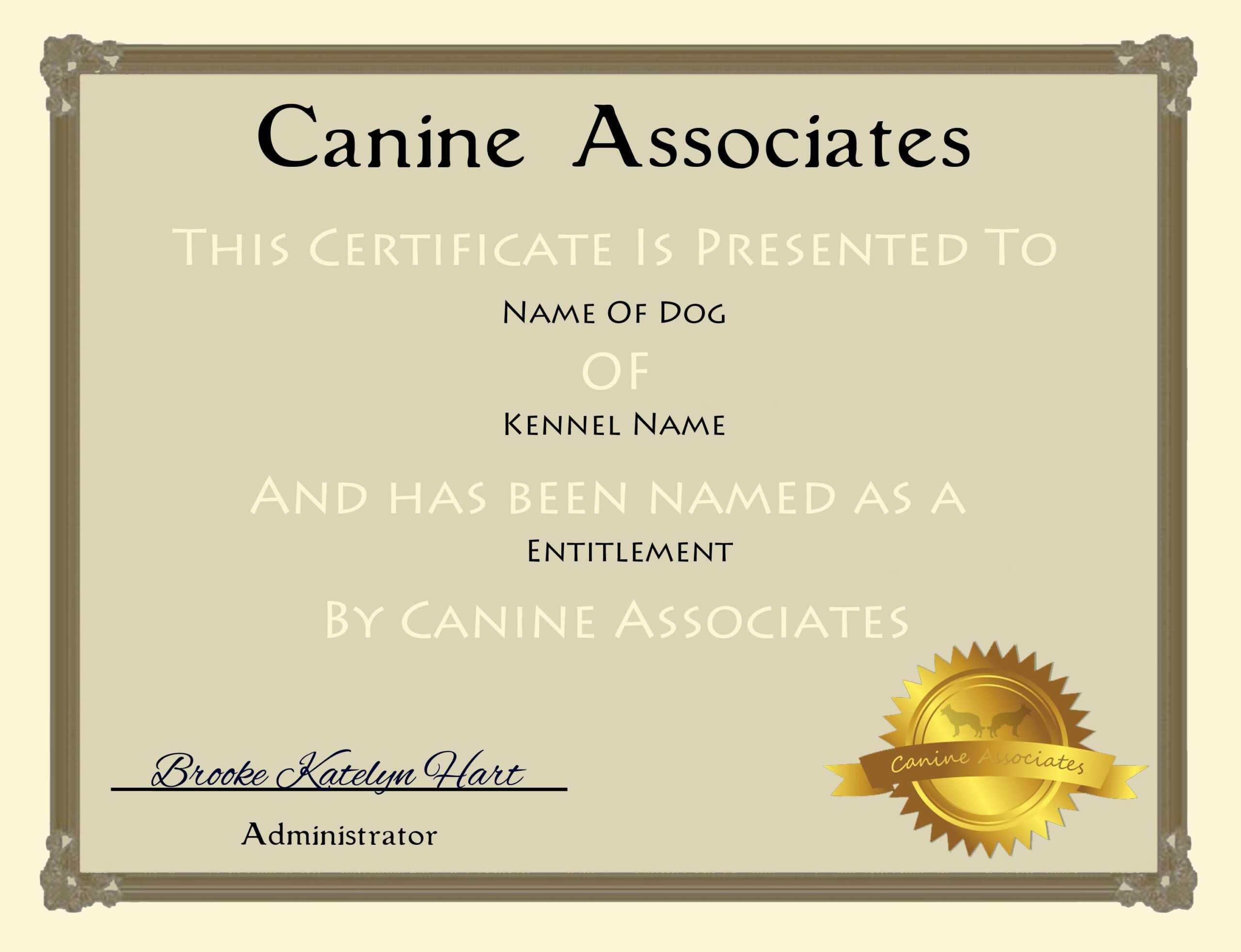 002 Service Dog Certificate Template Ideas Best Singular In Service Dog Certificate Template