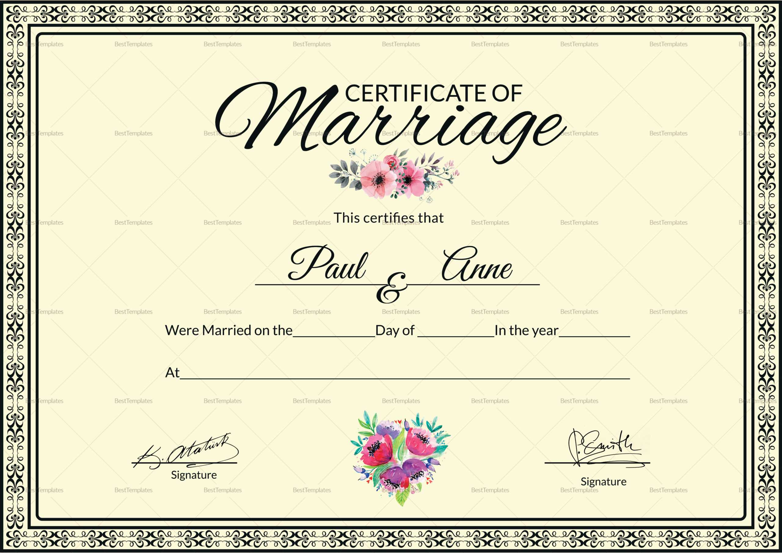 002 Template Ideas Certificate Of Marriage Beautiful Pertaining To Certificate Of Marriage Template