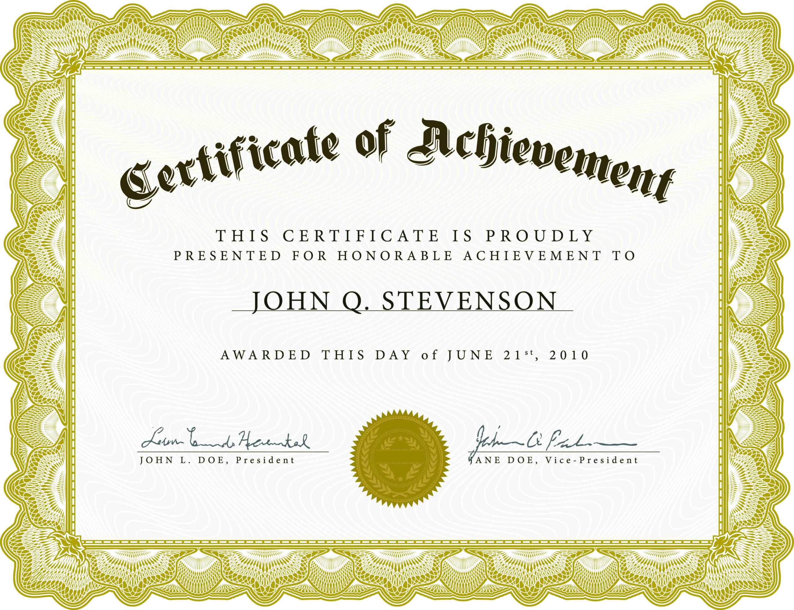 003 Army Certificate Of Achievement Template Microsoft Word With Regard To Certificate Of Achievement Army Template
