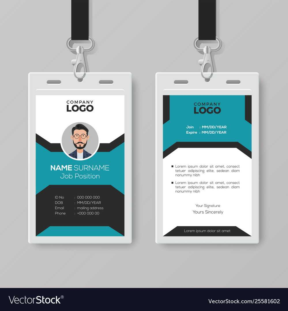 003 Creative Employee Id Card Template Vector Badge Best With Regard To Portrait Id Card Template