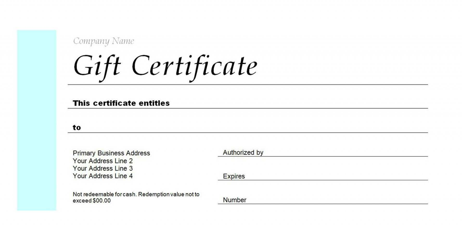 004 Gift Blank Certificate Template Astounding Ideas Pertaining To Company Gift Certificate Template