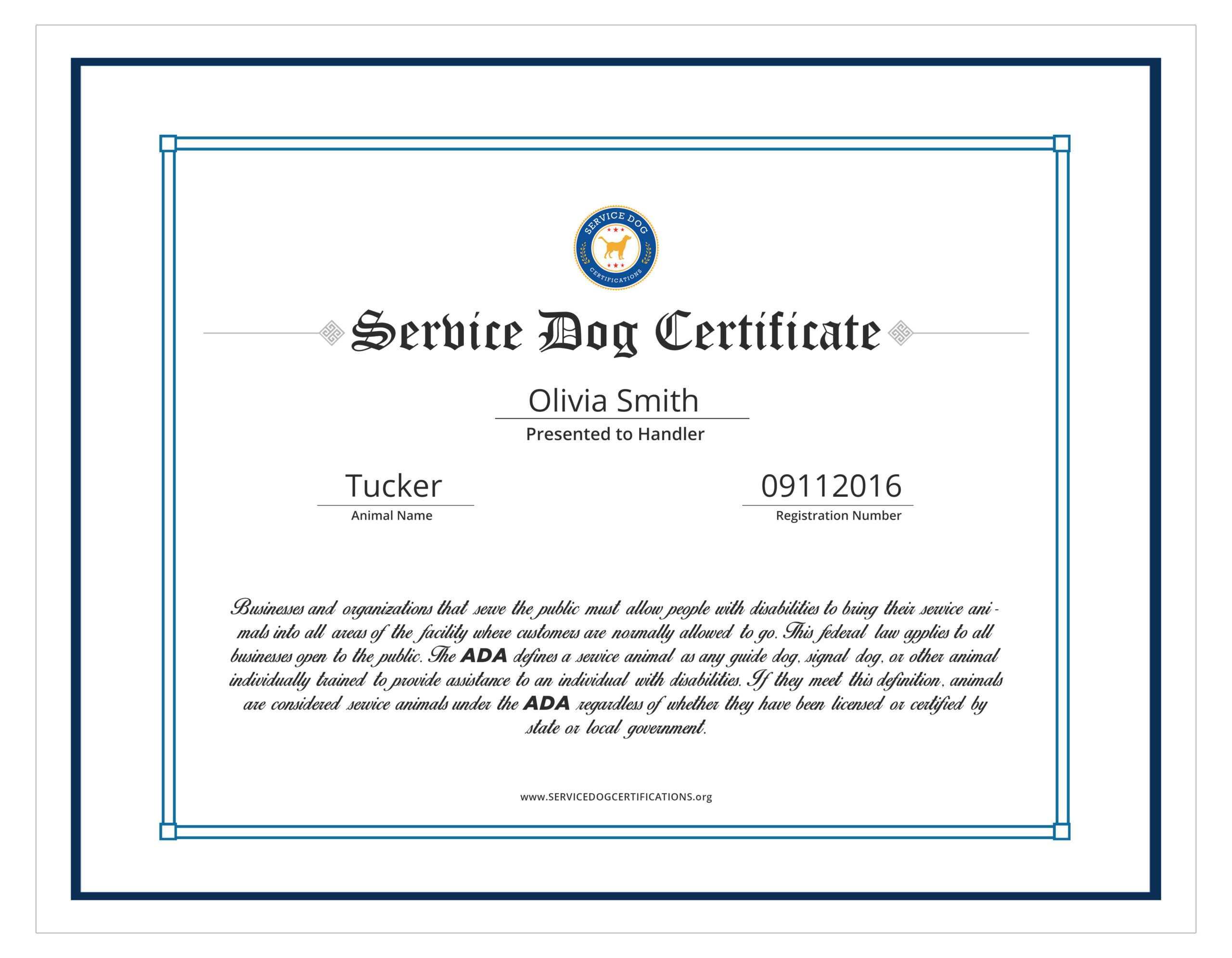004 Template Ideas Service Dog Certificate Elegant With Service Dog Certificate Template
