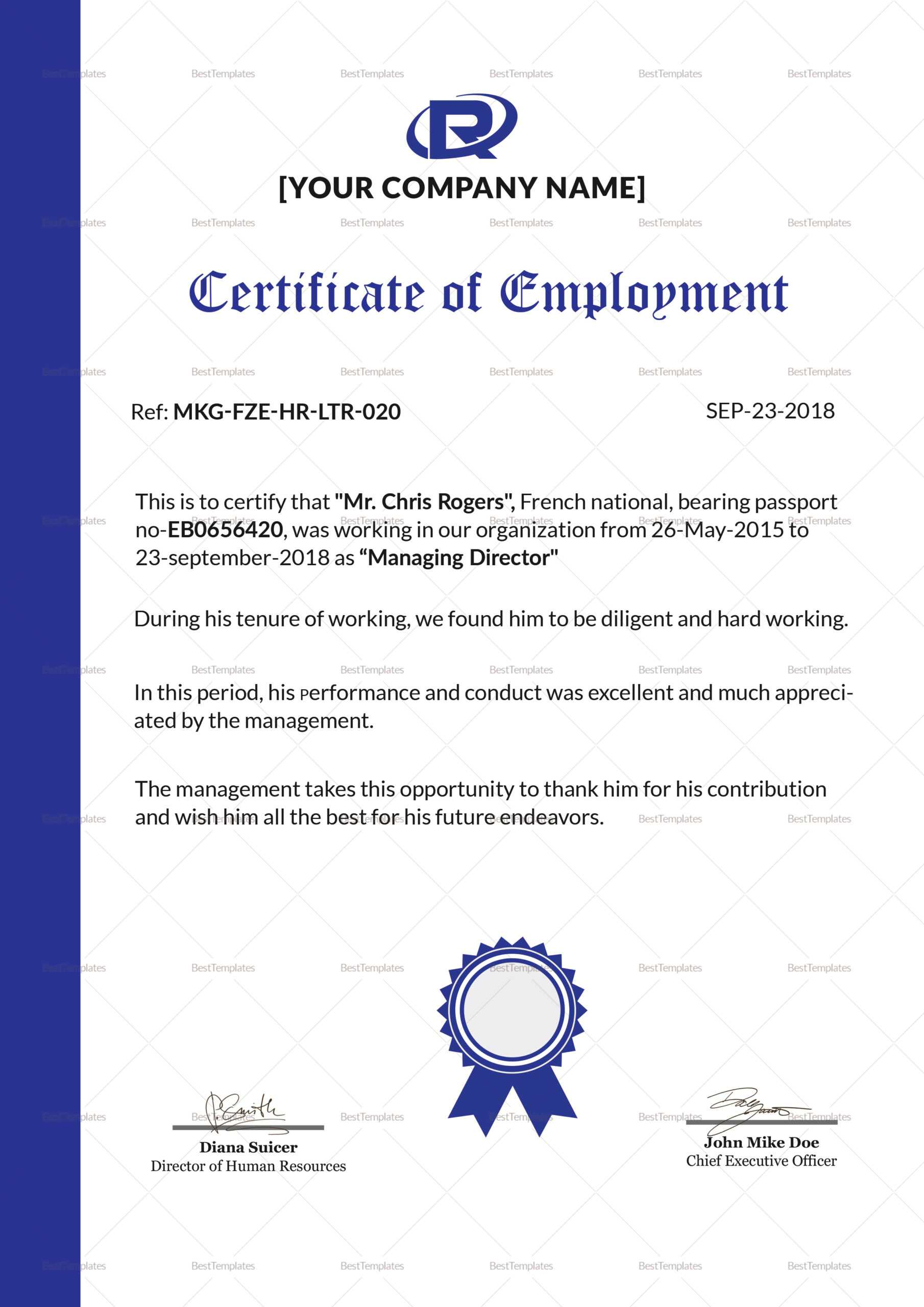 006 Certificate Of Employment Template Sample Impressive Intended For Sample Certificate Employment Template