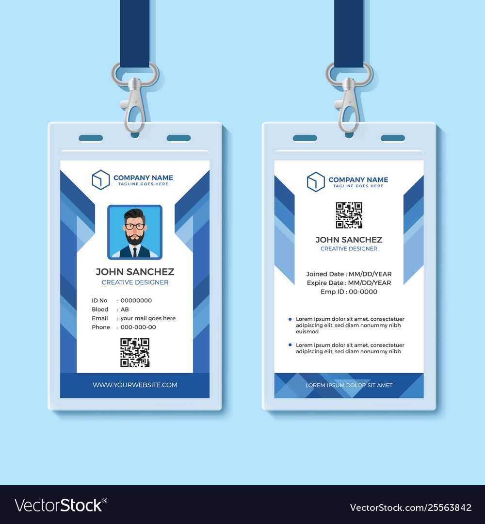 006 Employee Id Card Templates Template Ideas Blue Design For Id Card Template For Microsoft Word