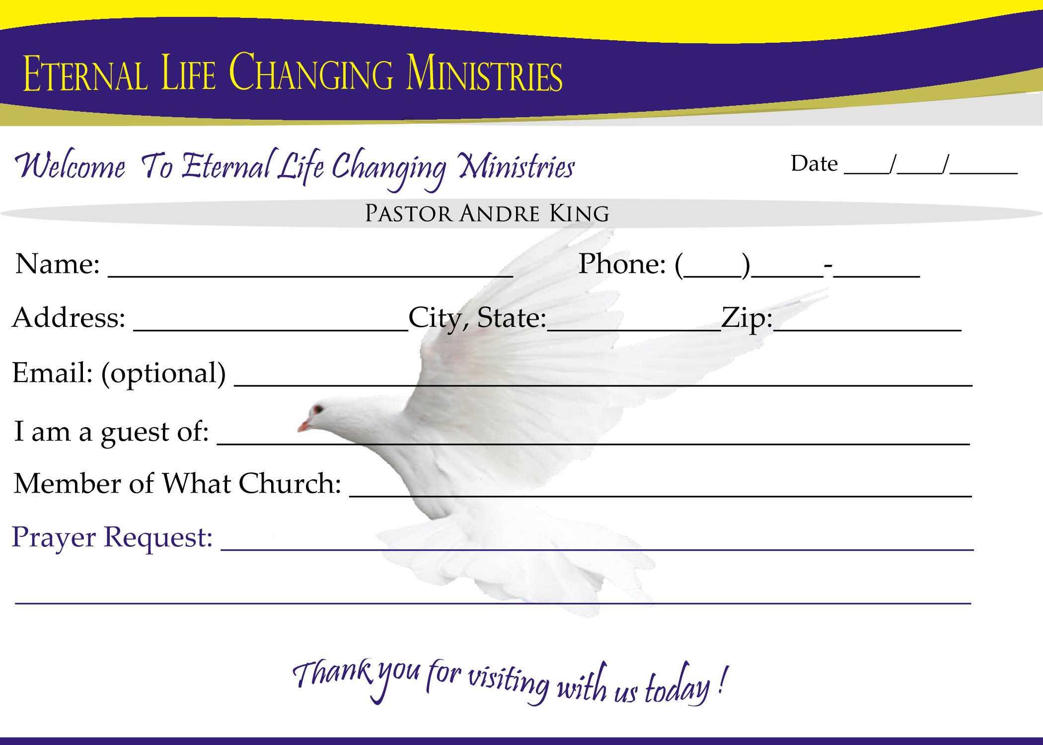 007 Template Ideas Eternal Life Visitor Card Church With Church Visitor Card Template Word