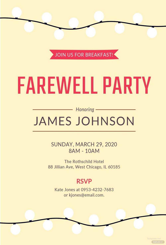007 Template Ideas Farewell Party Invitation Free Word Regarding Farewell Card Template Word
