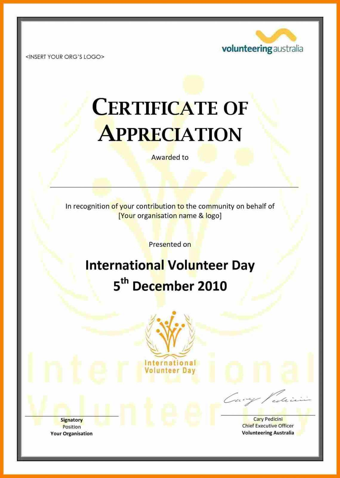 008 Template Ideas Community Service Certificate Images Of Within Volunteer Of The Year Certificate Template