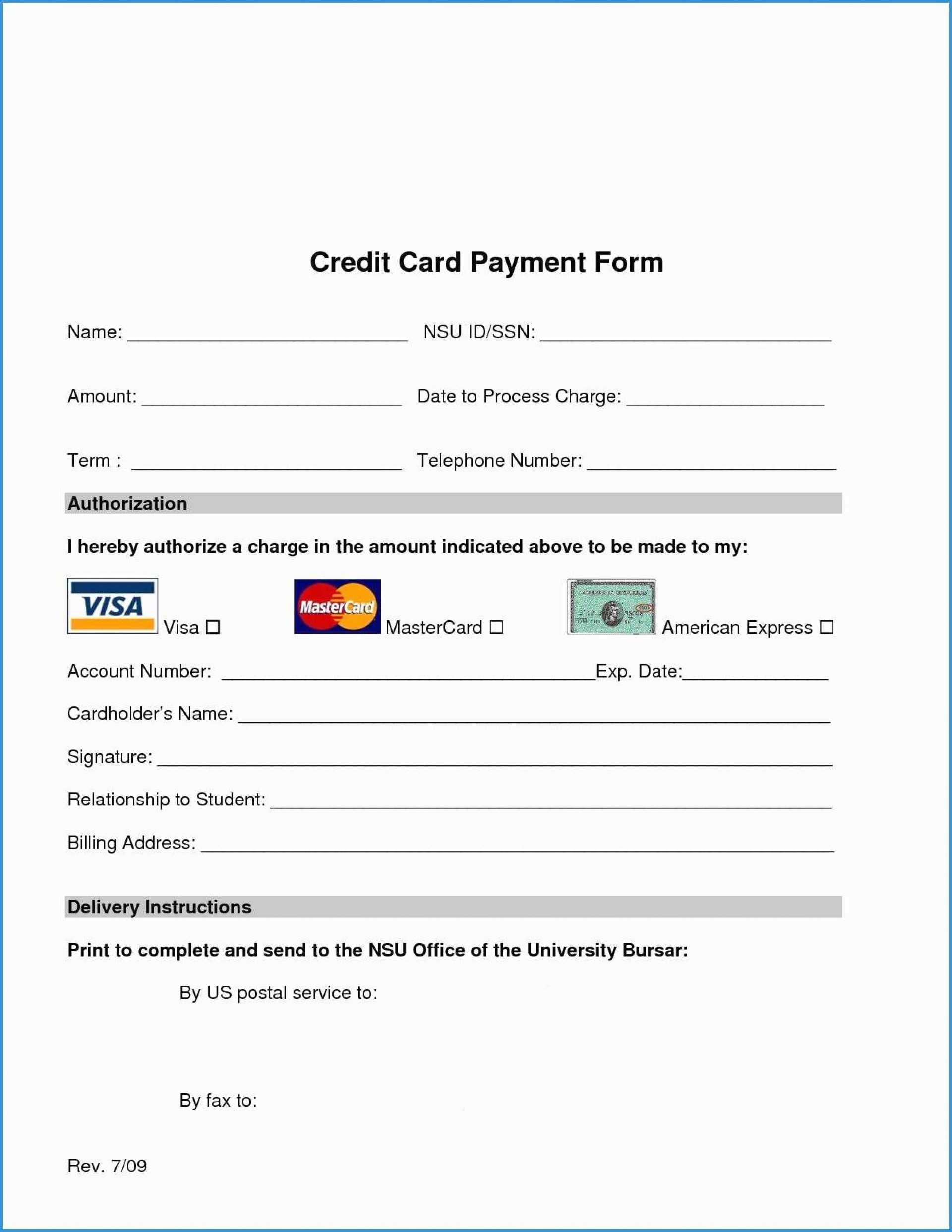 009 Credit Card Authorization Form Template Free Download For Credit Card Billing Authorization Form Template