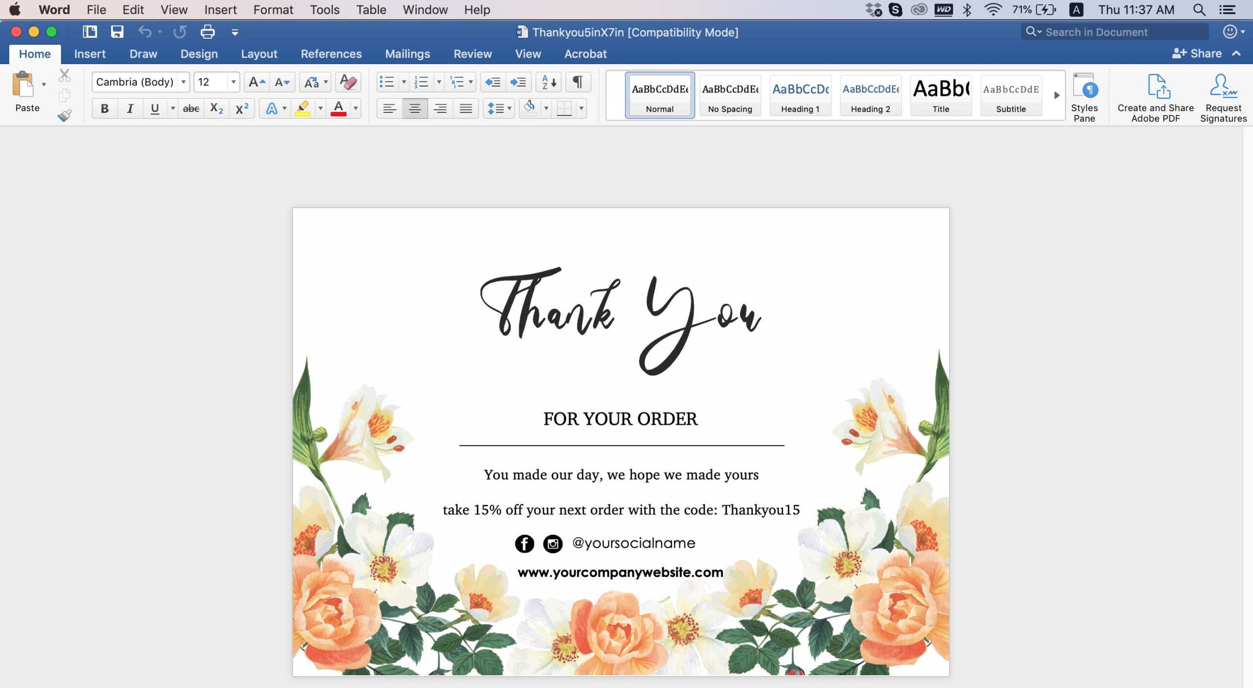 009 Editable Thank You Post Card Template Word Top Ideas With Regard To Thank You Card Template Word