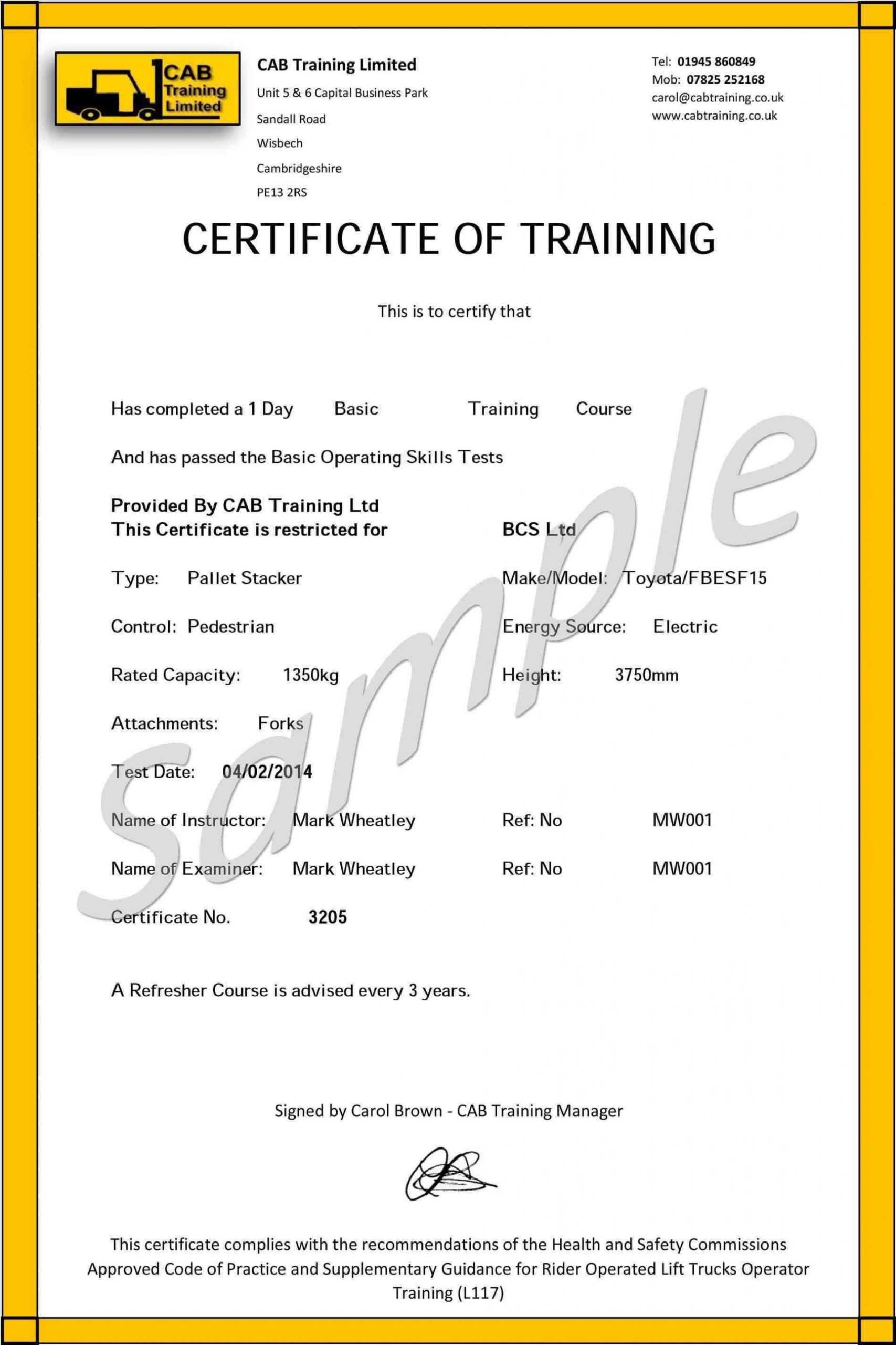 009 Forklift Certification Card Template Free Original Throughout Forklift Certification Template
