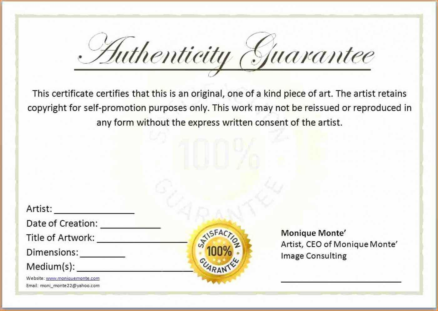 010 Artist Certificatefit8252C1275Ssl1 Certificate Of Throughout Certificate Of Authenticity Template