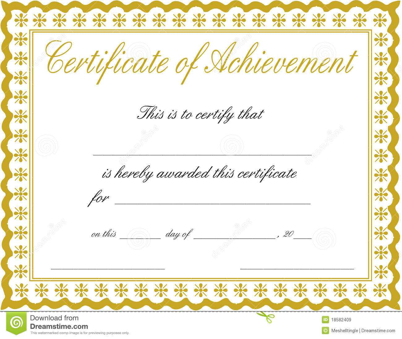 011 Free Printable Certificate Of Achievement Template Blank With Regard To Blank Certificate Of Achievement Template