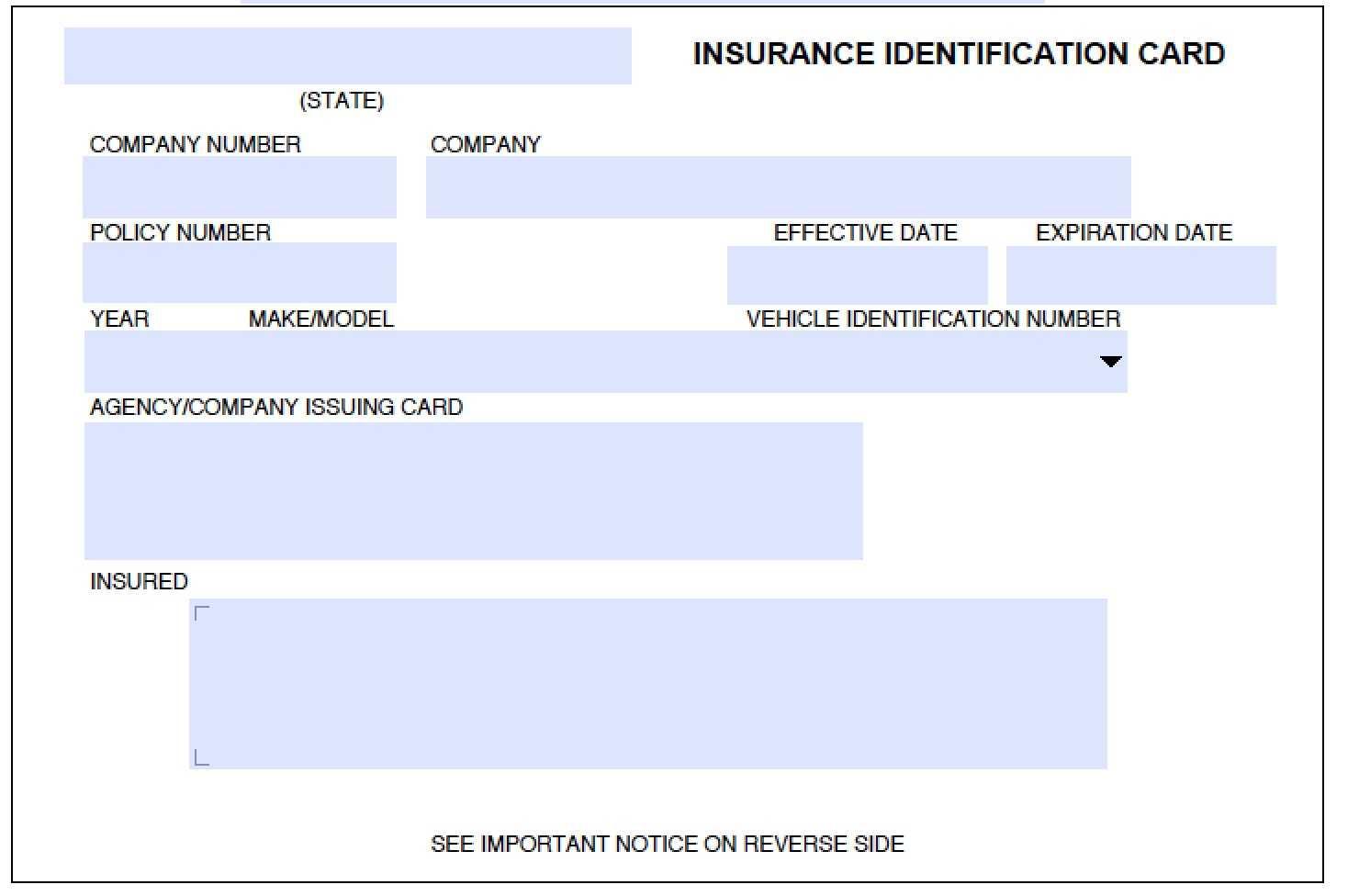 012 Company Car Policy Template Free Auto Insurance Id Card For Auto Insurance Id Card Template