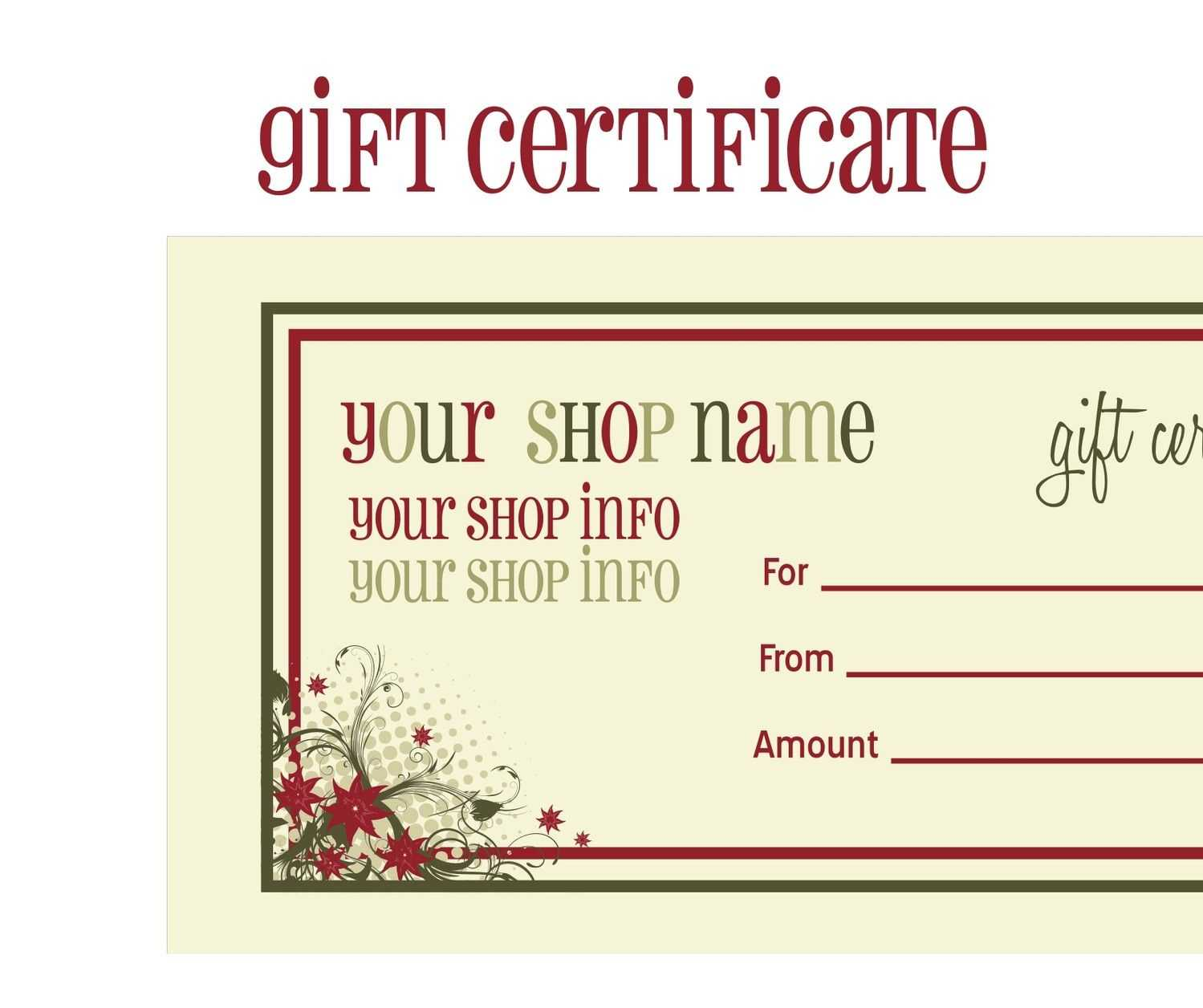 014 Template Ideas For Gift Unique Certificate Free Massage For Homemade Christmas Gift Certificates Templates