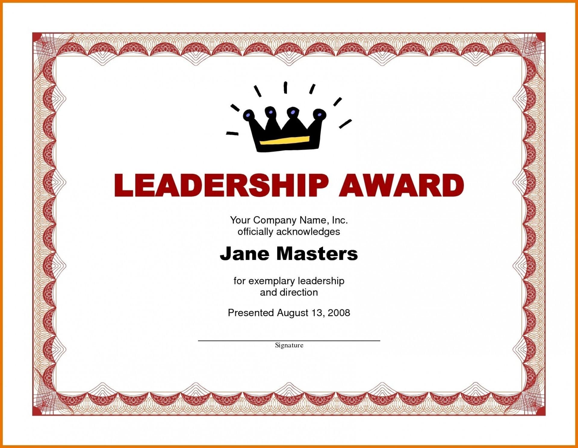 015 Template Ideas Award Certificate Word Doc Of Achievement Inside Leadership Award Certificate Template