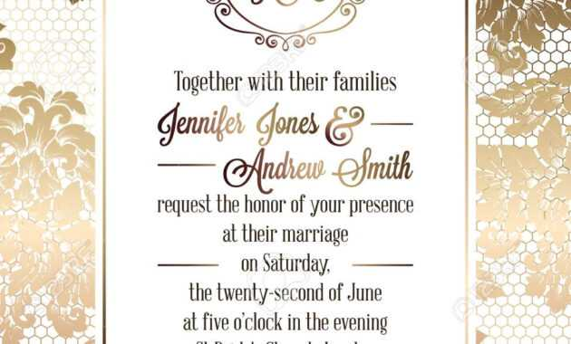 015 Vintage Baroque Style Wedding Invitation Card Template throughout Sample Wedding Invitation Cards Templates