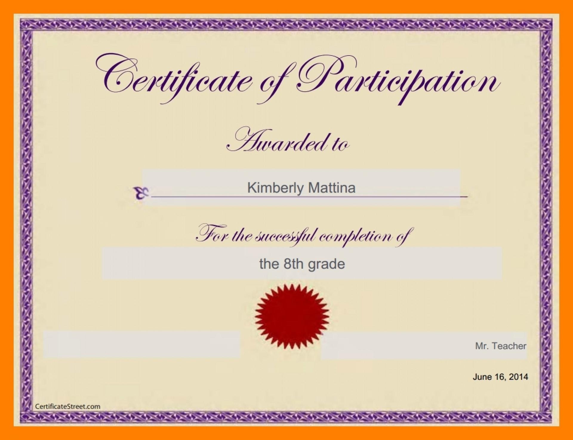 016 Template Ideas Google Docs Certificate Templates Regarding Certificate Of Participation Template Doc