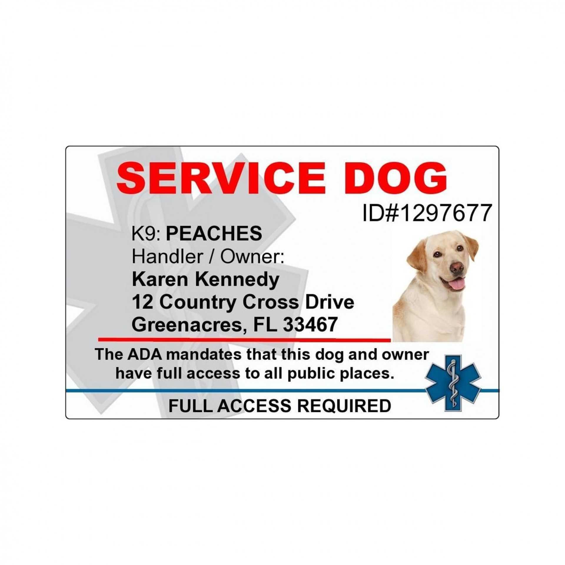 018 Template Ideas Service Dog Certificate Singular Id Free Within Service Dog Certificate Template