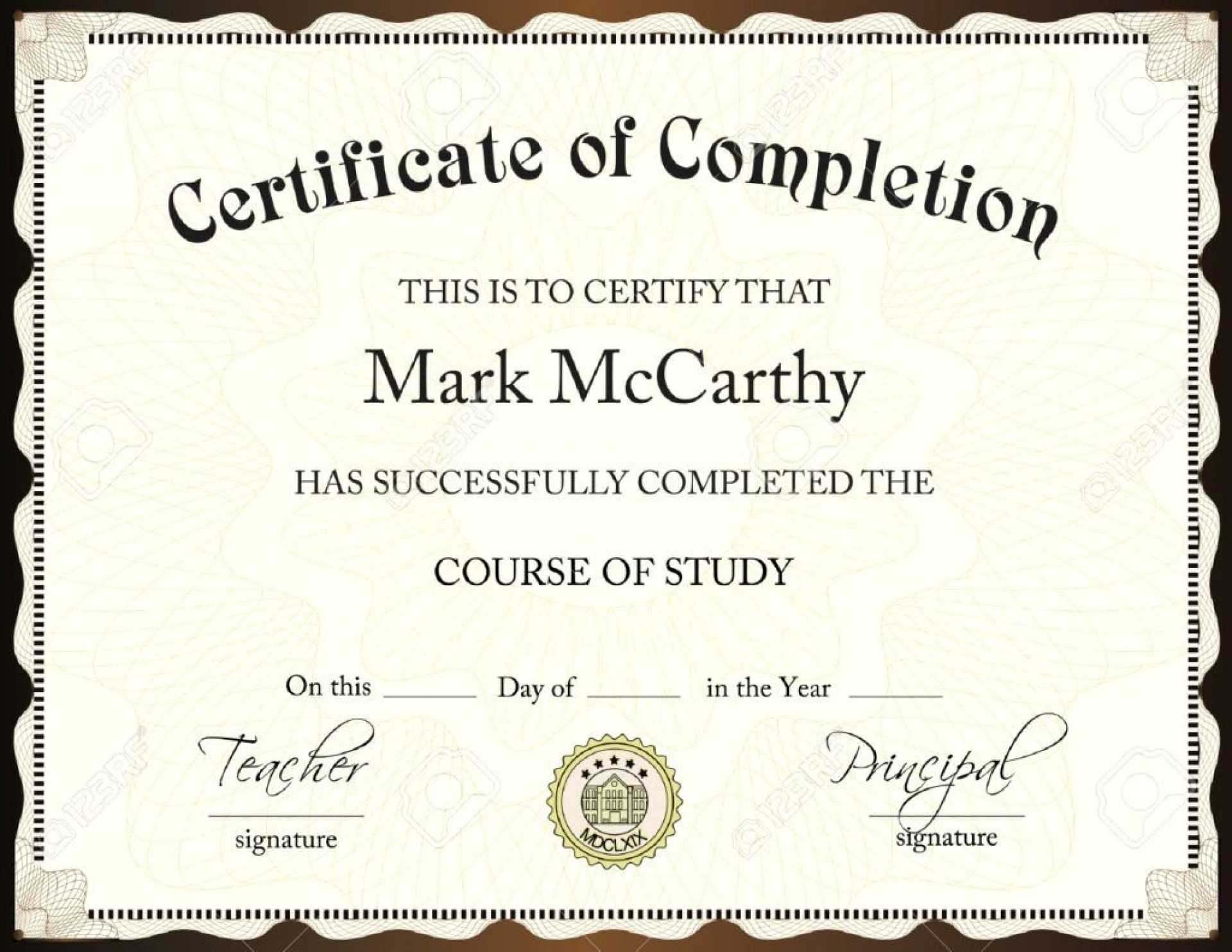 019 Certificate Of Completion Template Free Psd Best Throughout Army Certificate Of Completion Template