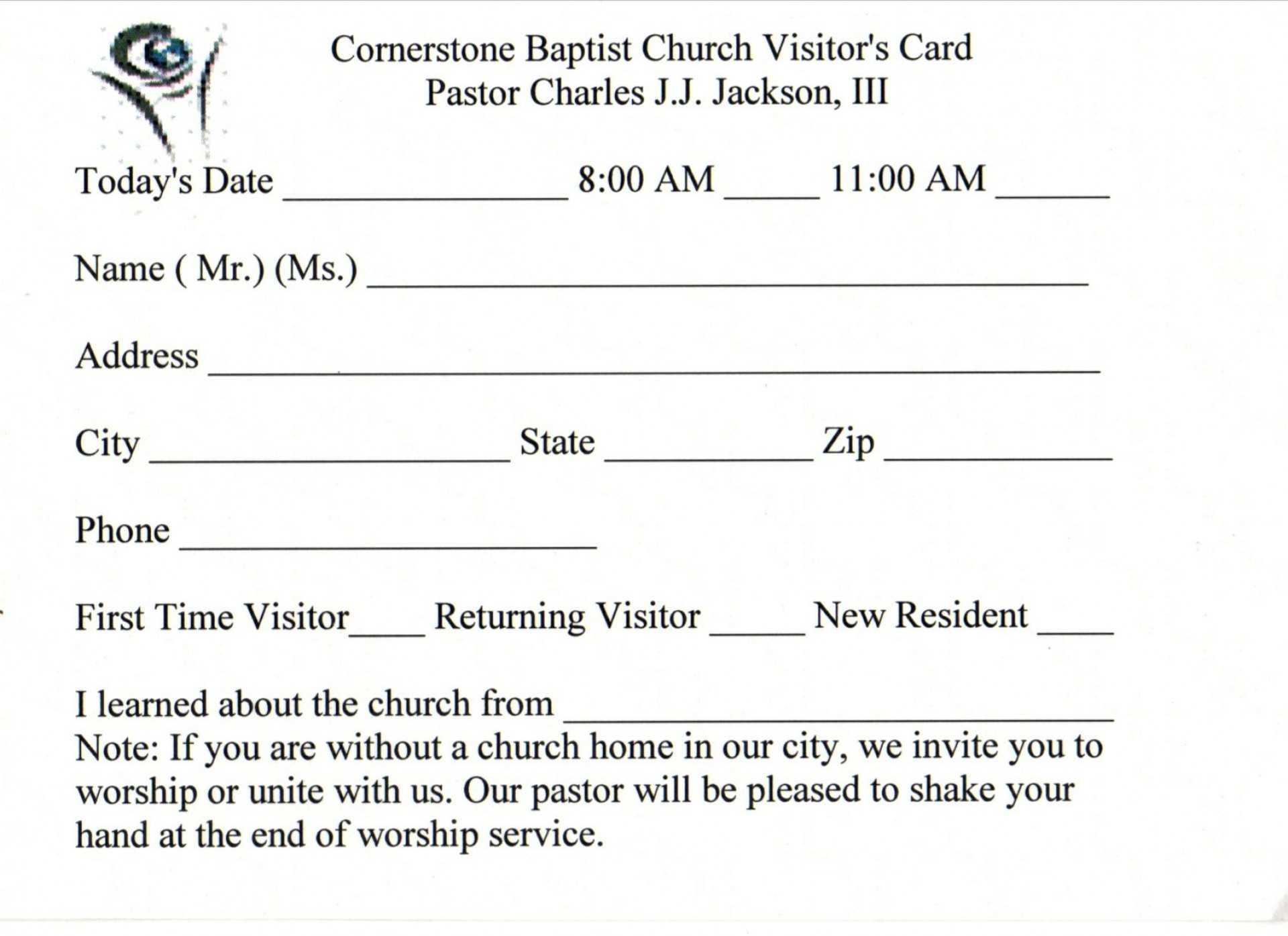 019 Template Ideas Church Visitor Card Word Impressive Pertaining To Church Visitor Card Template Word