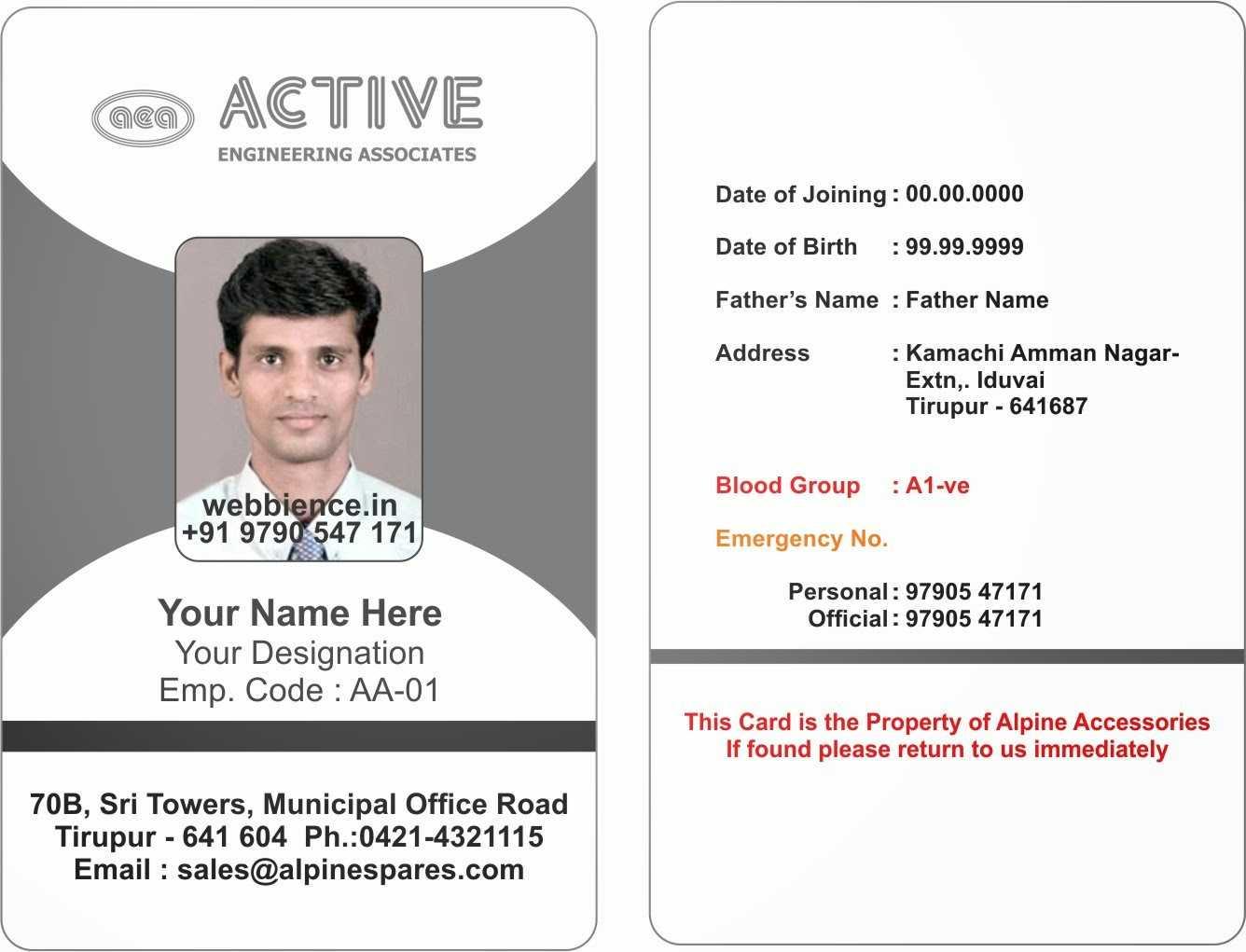 022 Employee Id Card Template Microsoft Word Free Download Regarding Employee Card Template Word