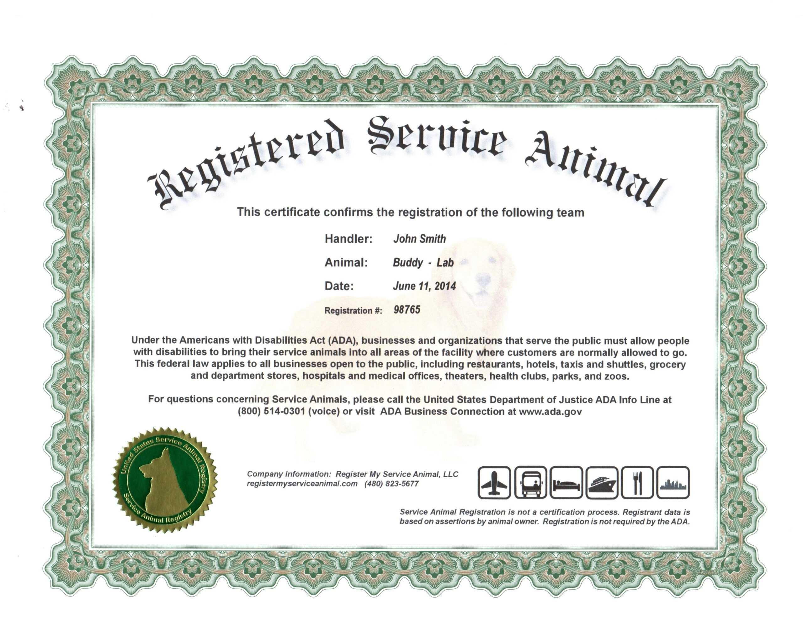 022 Service Dog Certificate Template Ideas Collection For Intended For Service Dog Certificate Template