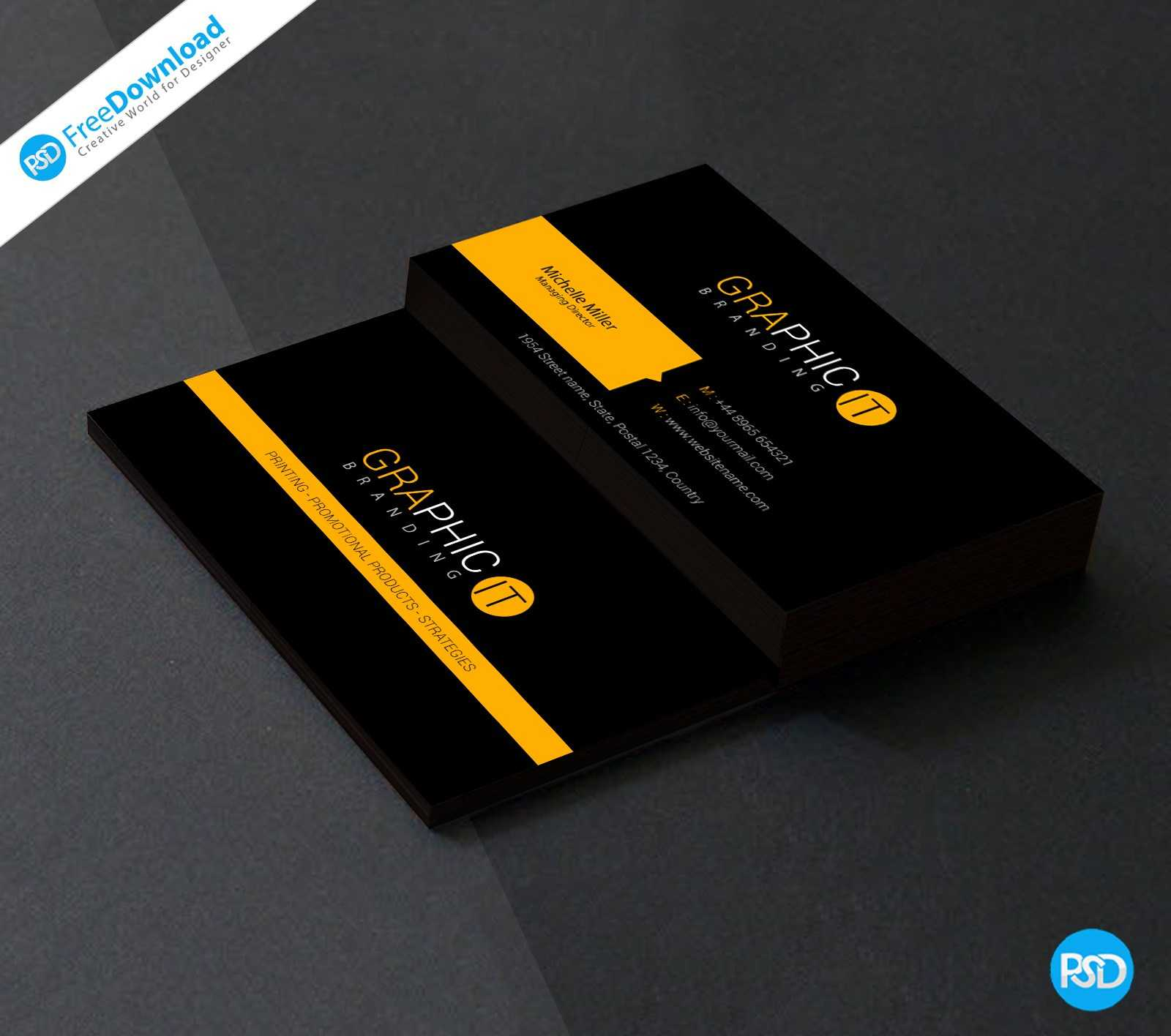 023 Professional Business Card Design Psd Blank Template With Professional Business Card Templates Free Download