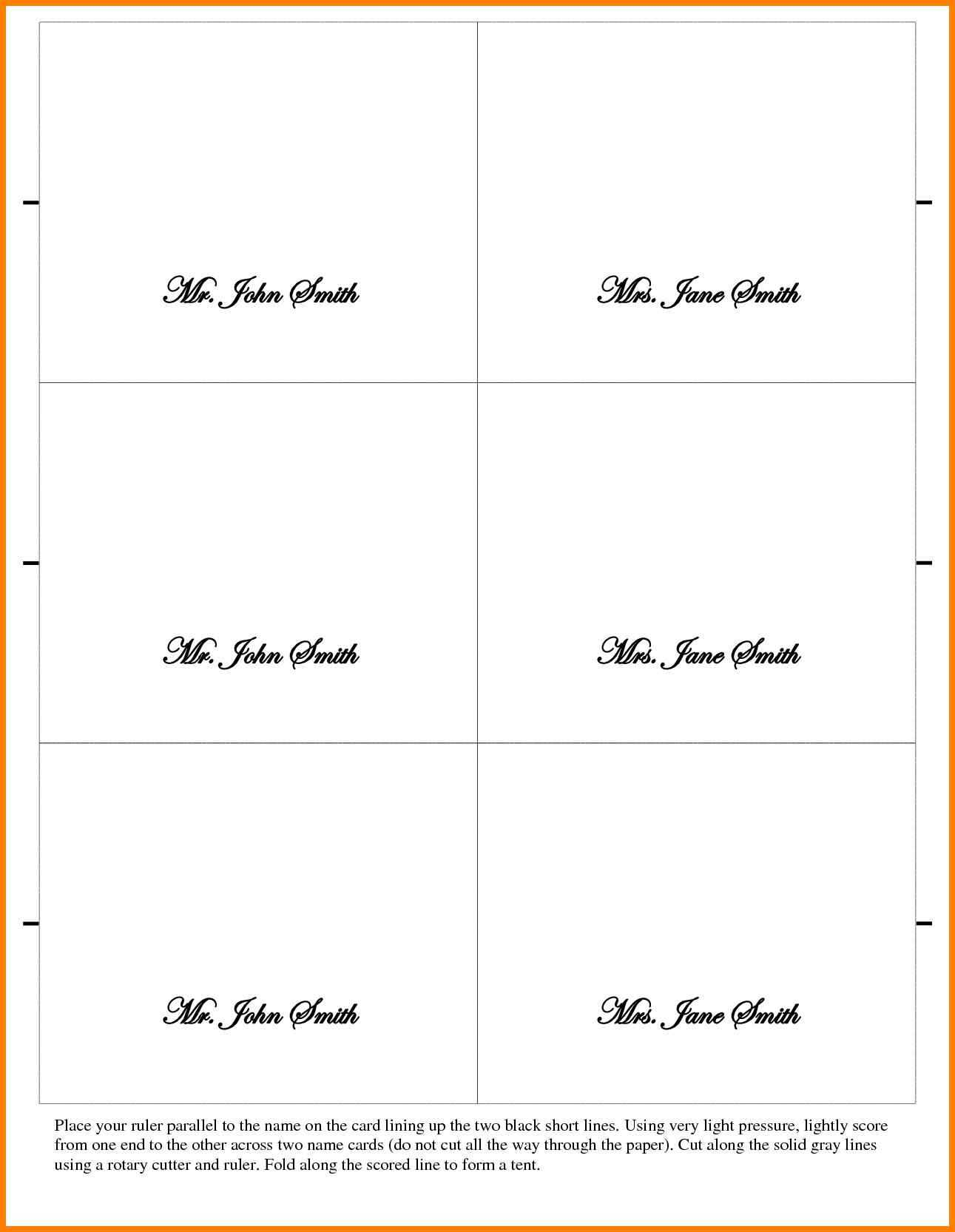 026 Place Cards Template Word Ideas Table Card Tent New With Tent Name Card Template Word
