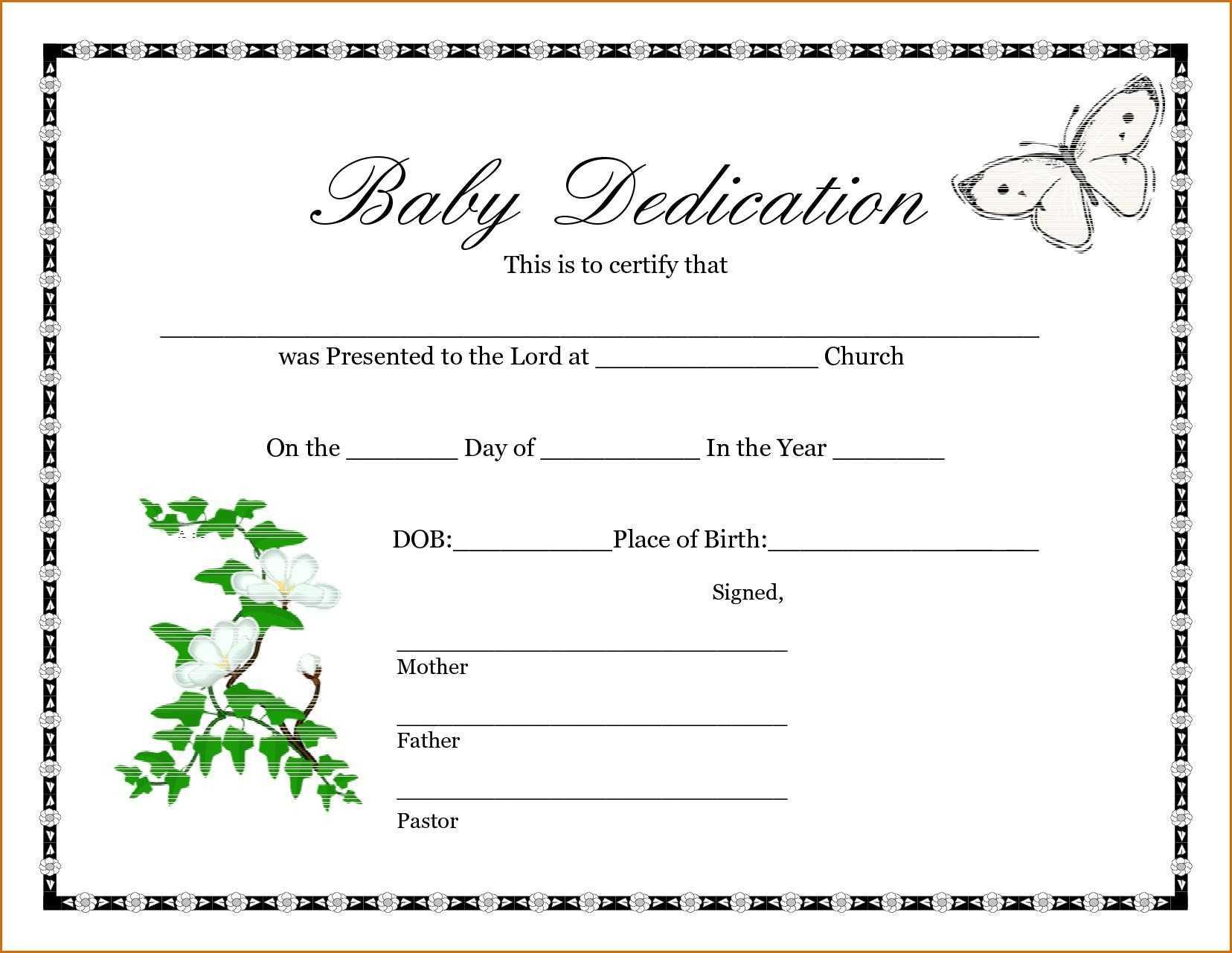 028 Baby Dedication Certificate Template Fake Birth Maker In Fake Birth Certificate Template