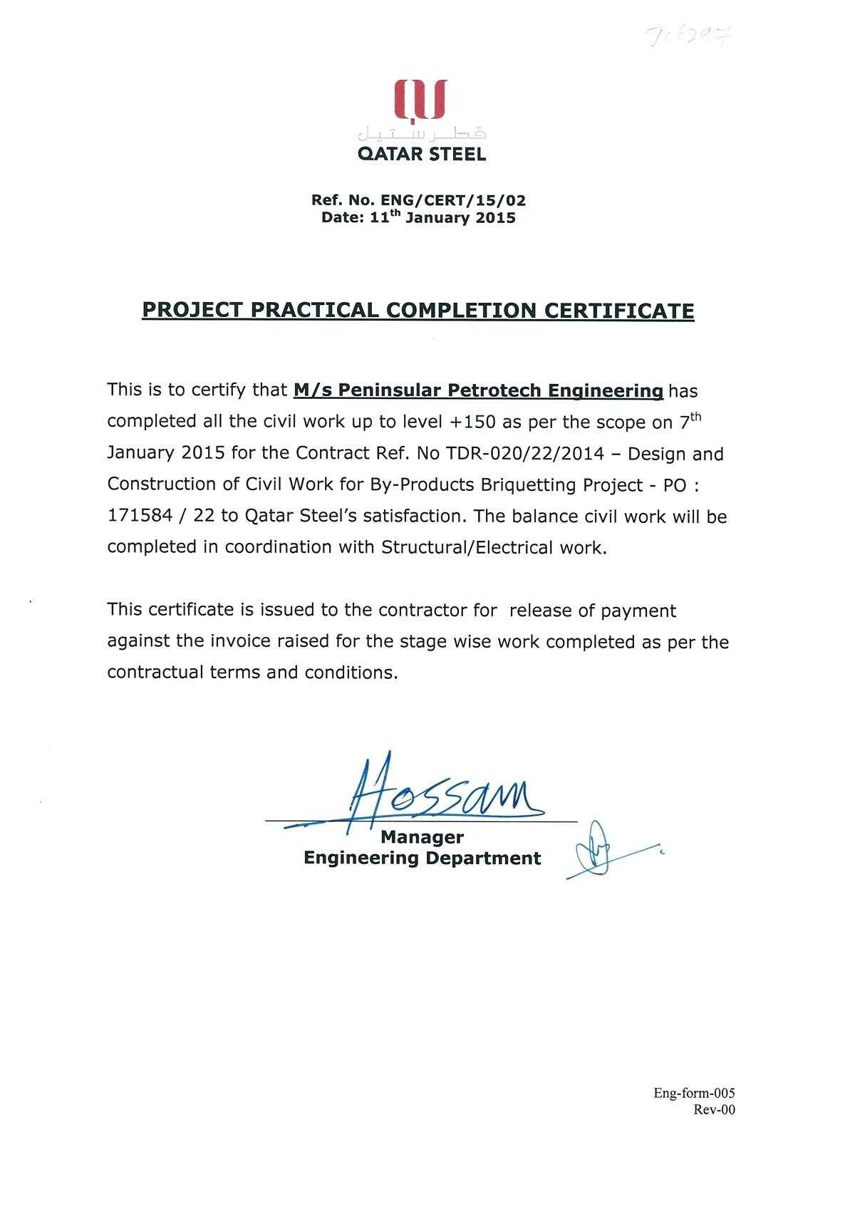 028 Construction Work Order Template Completion Certificate Pertaining To Practical Completion Certificate Template Uk