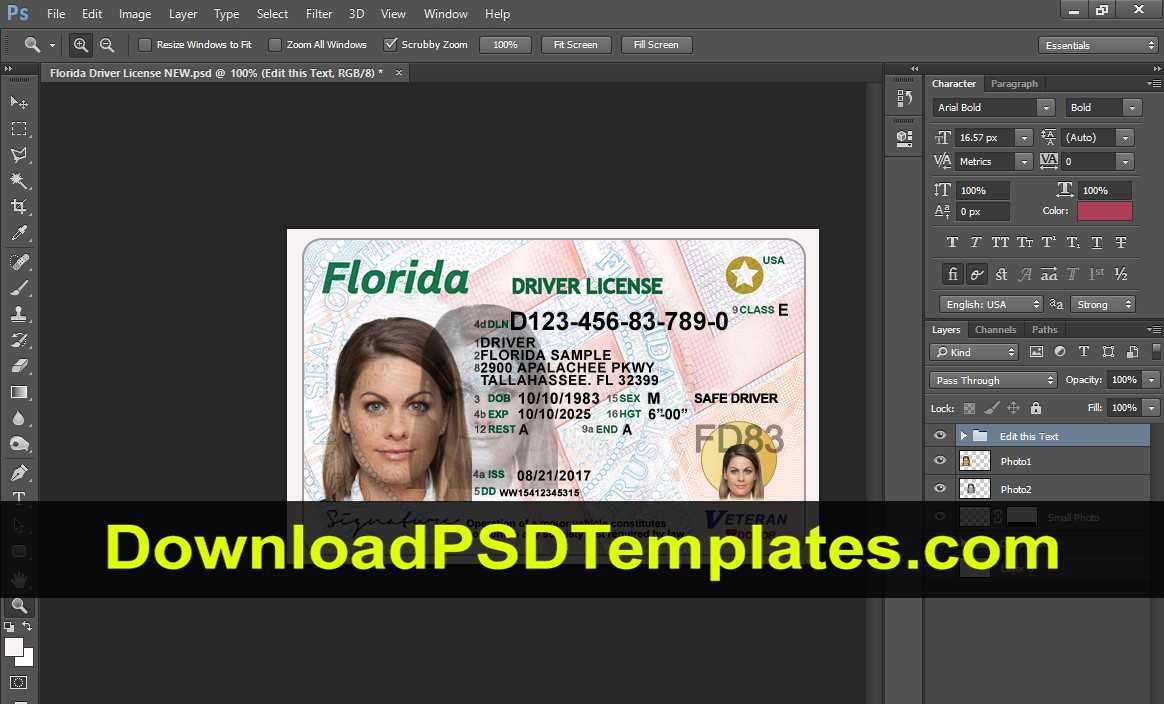 029 Florida Photoshop Driver License Template New High With Regard To Florida Id Card Template