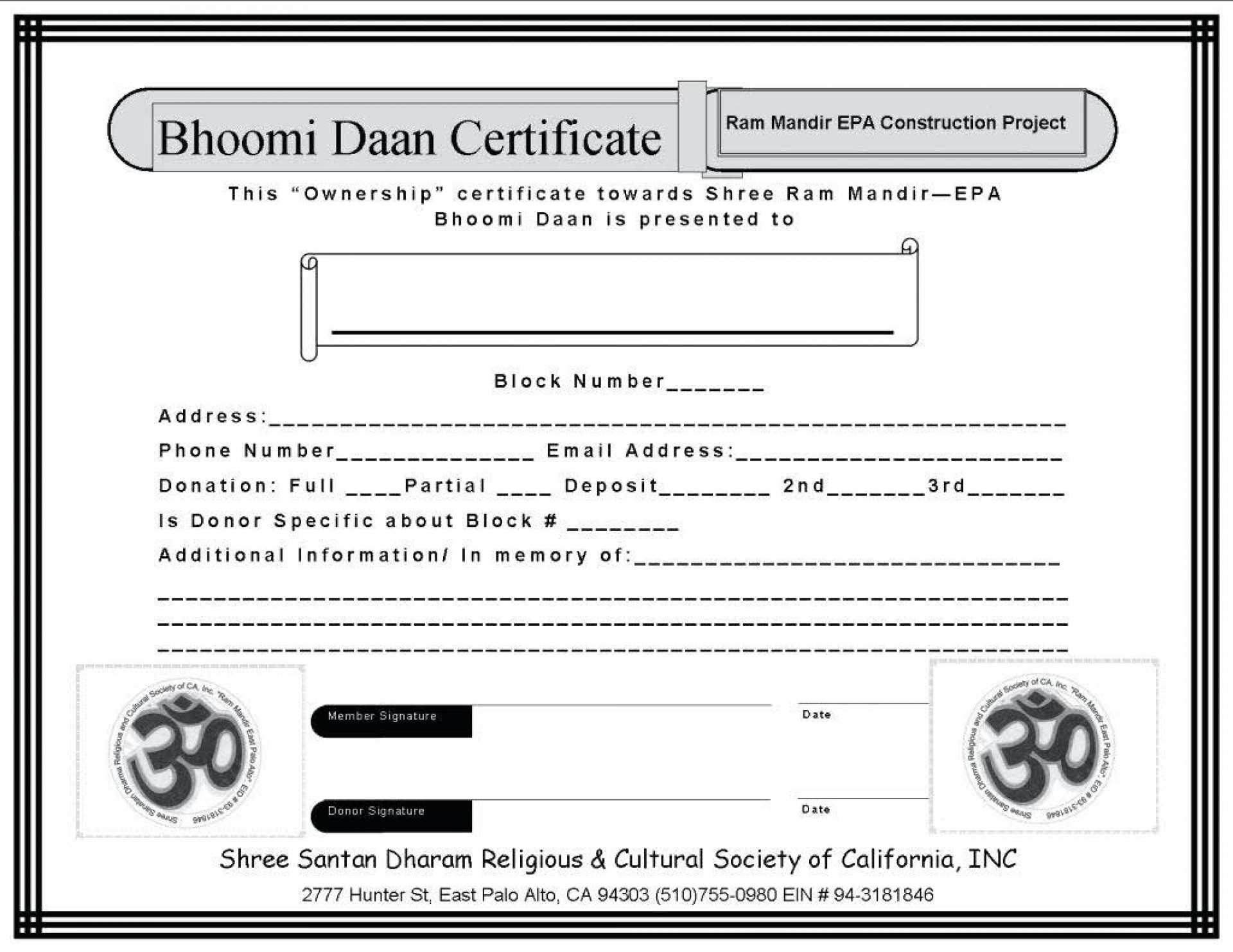 029 Professionalreceipt Template Ideas Donation Receipt Within Ownership Certificate Template
