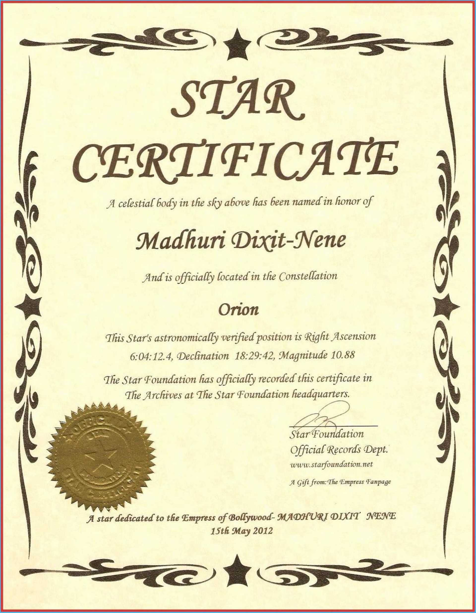 034 Free Printable Certificate Templates Template Ideas With Regard To Star Certificate Templates Free