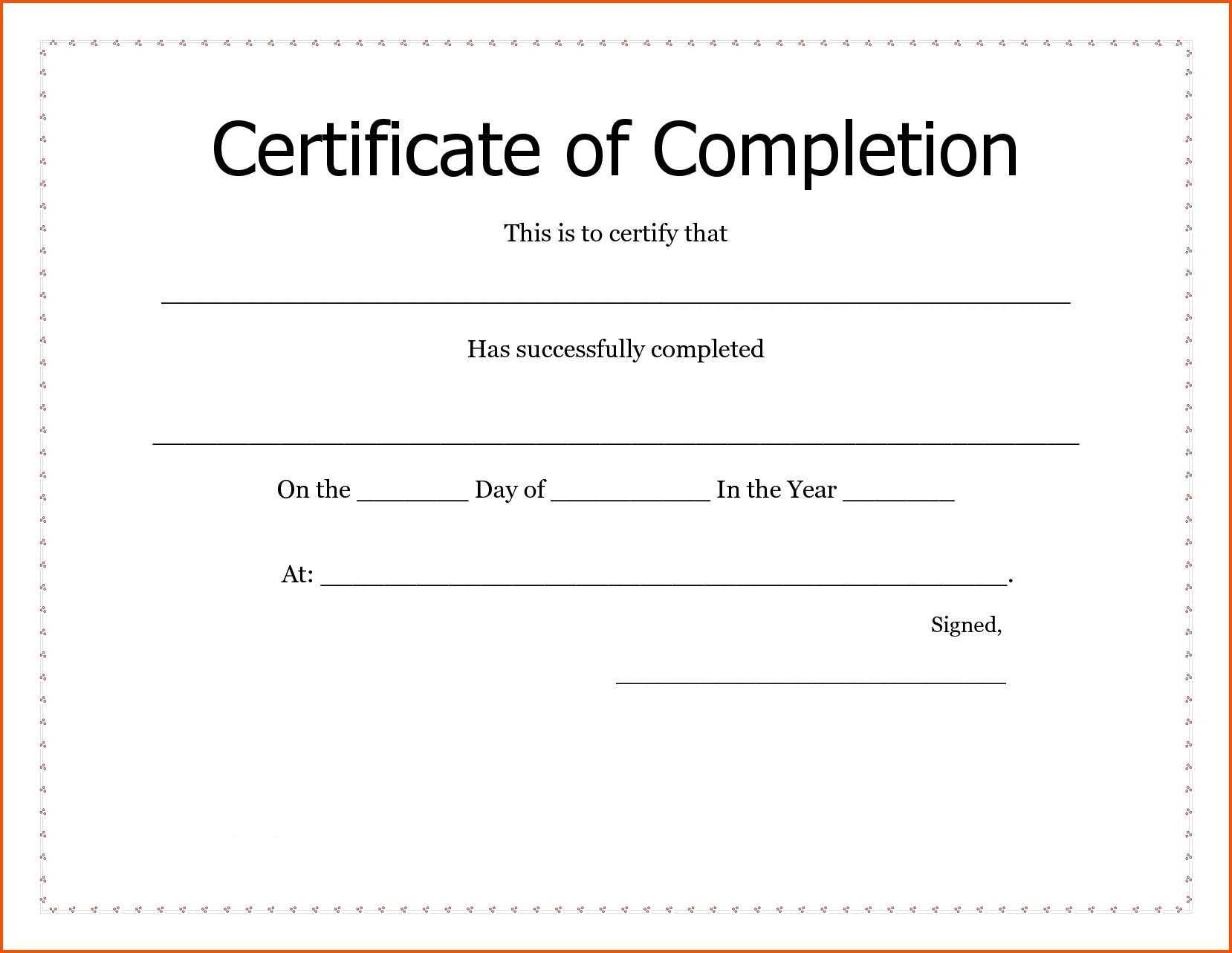 035 Free Certificate Of Completion Template Word Sample Text Throughout Certificate Of Completion Template Word