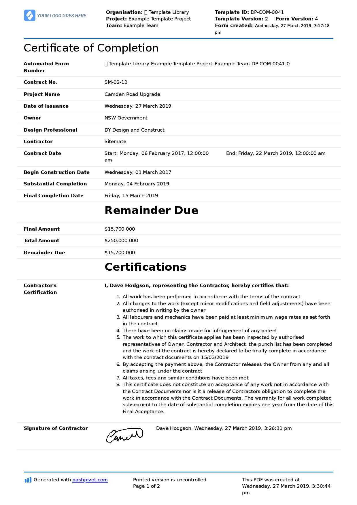 040 Free Construction Contract Agreement Template Example Pertaining To Certificate Of Completion Construction Templates
