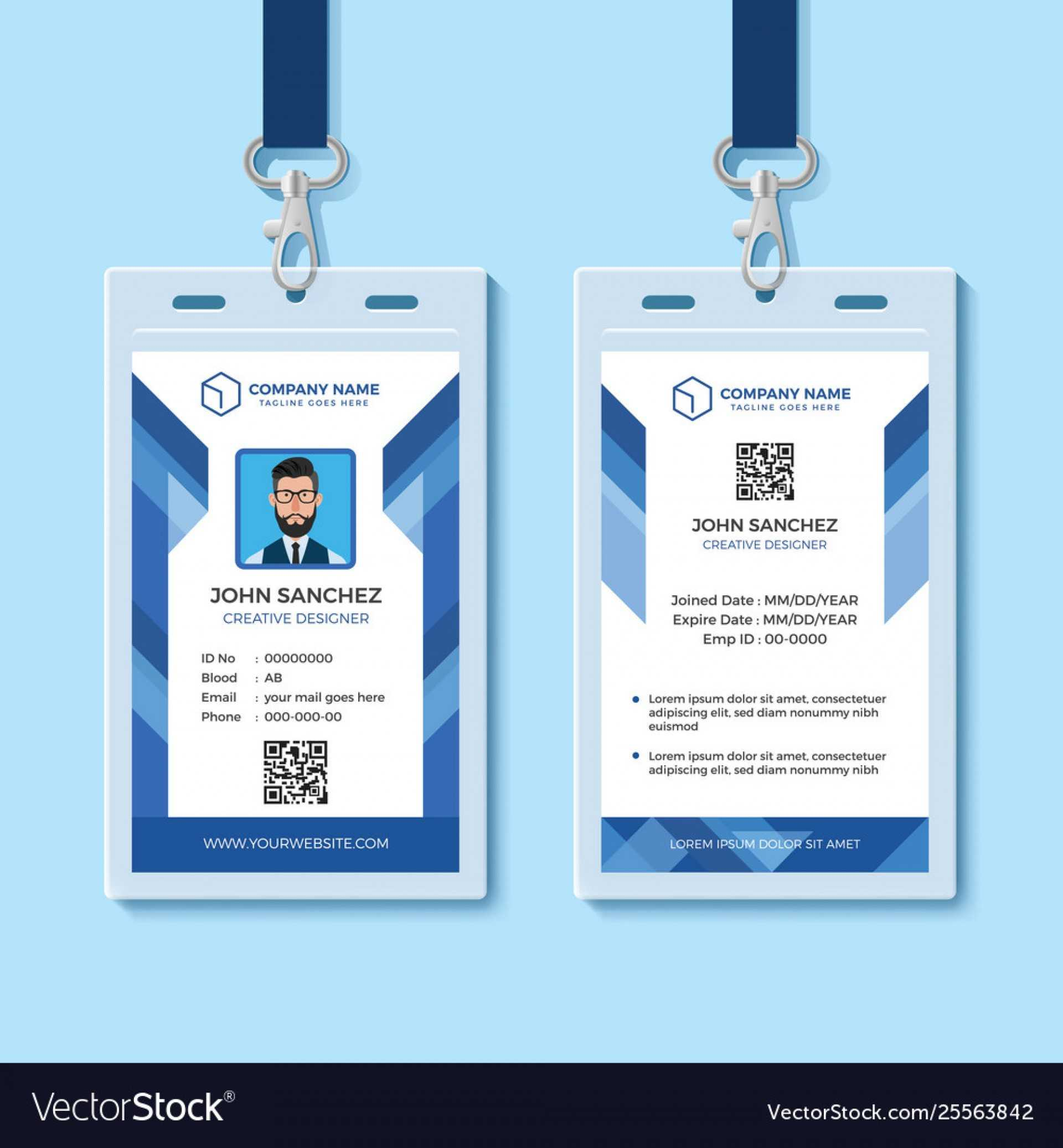 042 Template Ideas Employee Id Card Templates Blue Design Throughout Id Card Template Word Free