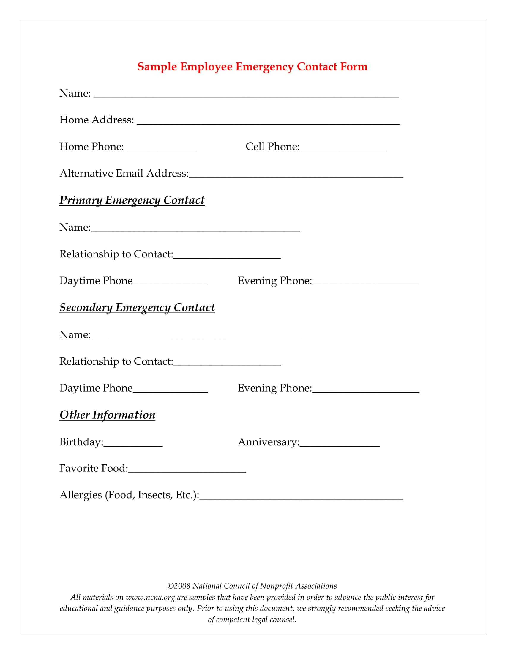 10+ Emergency Information Form Examples - Pdf | Examples For Emergency Contact Card Template