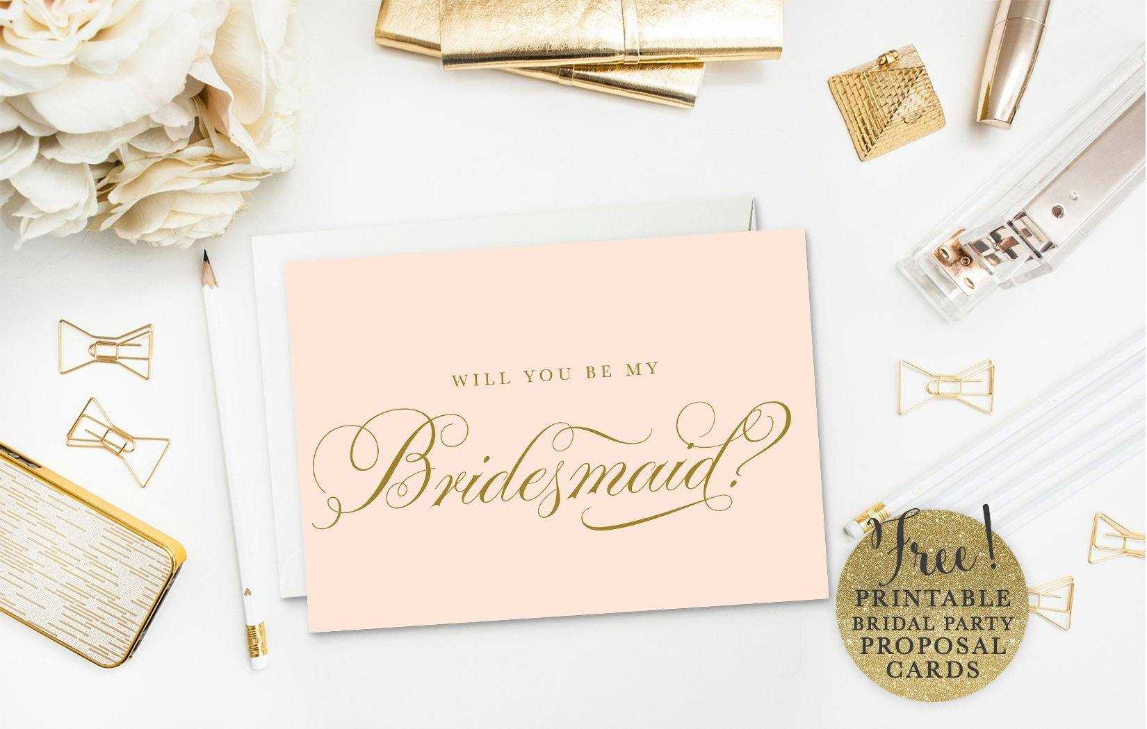 10 Will You Be My Bridesmaid? Cards (Free & Printable) Throughout Will You Be My Bridesmaid Card Template