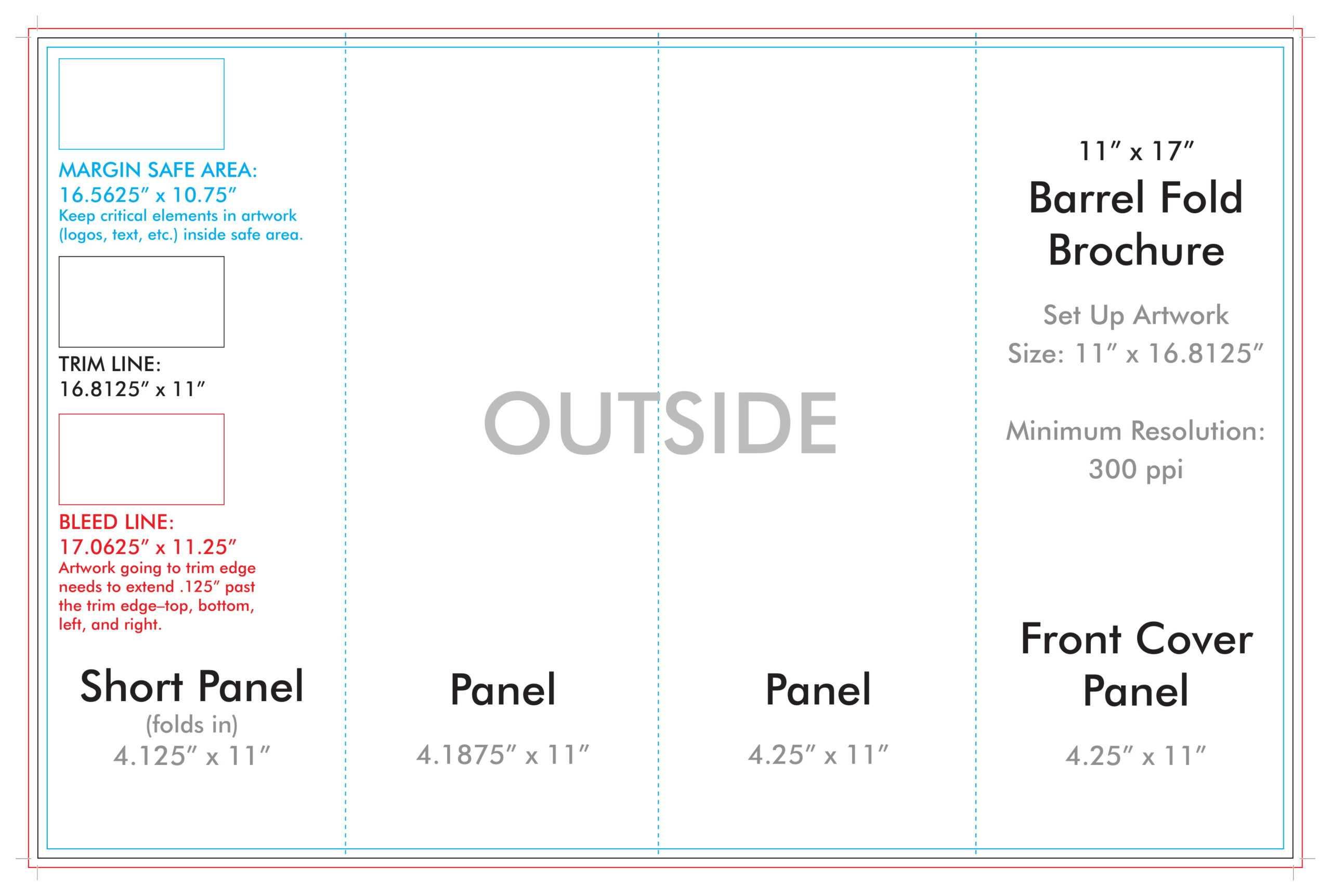 "11"" X 17"" Barrel Fold Brochure Template – U.s. Press Pertaining To 4 Panel Brochure Template"