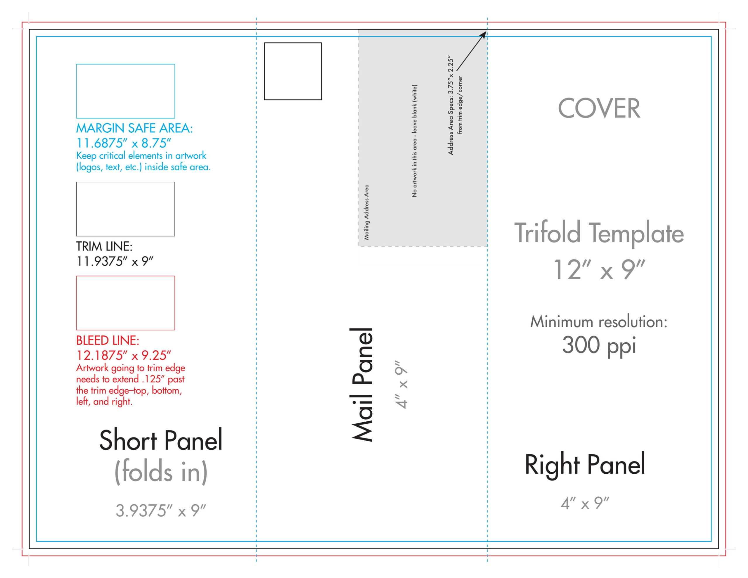 "12"" X 9"" Rack Brochure Template (Tri Fold) – U.s. Press Throughout Brochure Folding Templates"