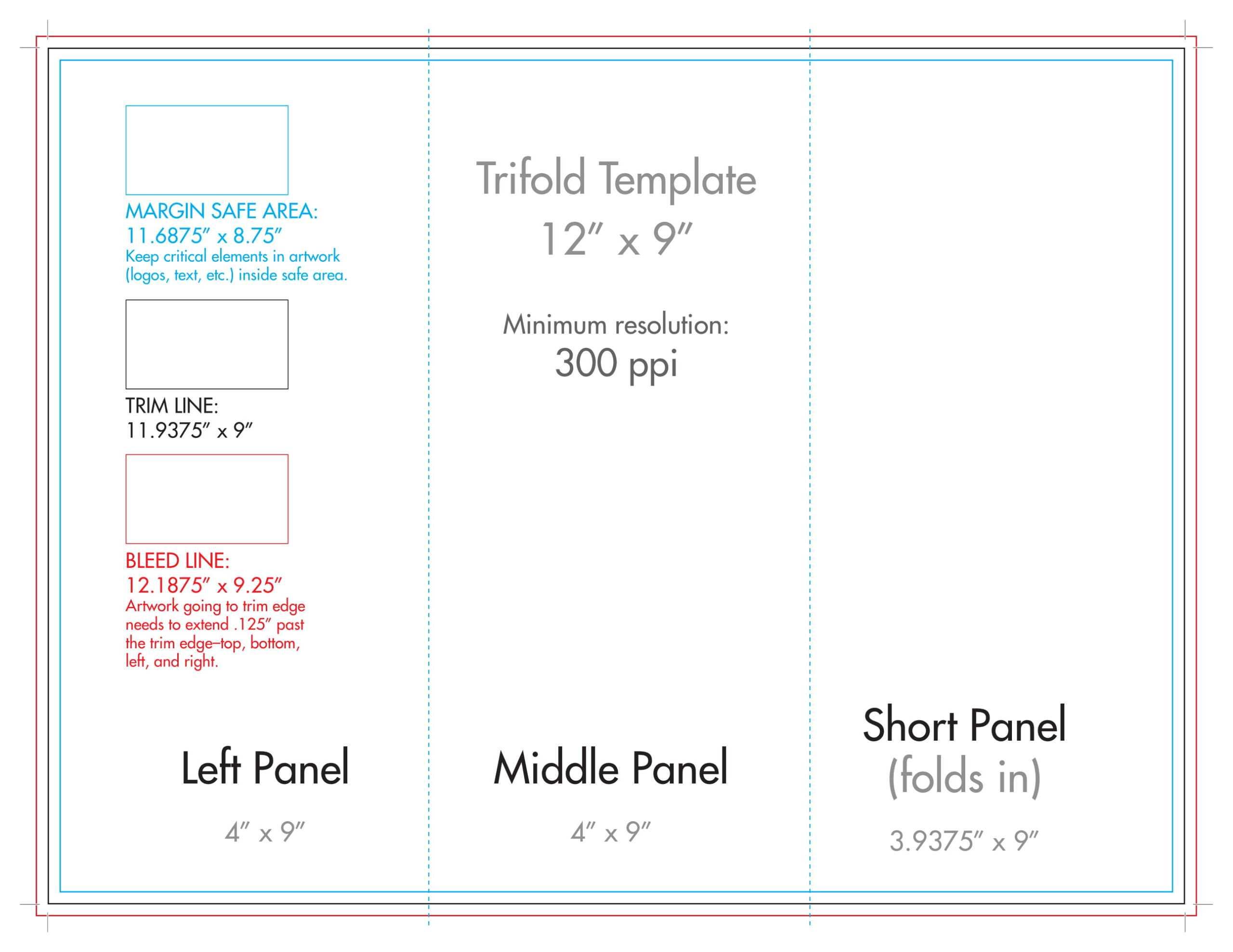 "12"" X 9"" Rack Brochure Template (Tri Fold) – U.s. Press Within Brochure Folding Templates"