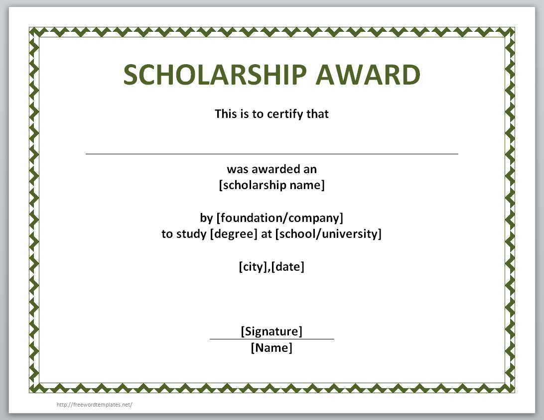 13 Free Certificate Templates For Word » Officetemplate For Scholarship Certificate Template Word