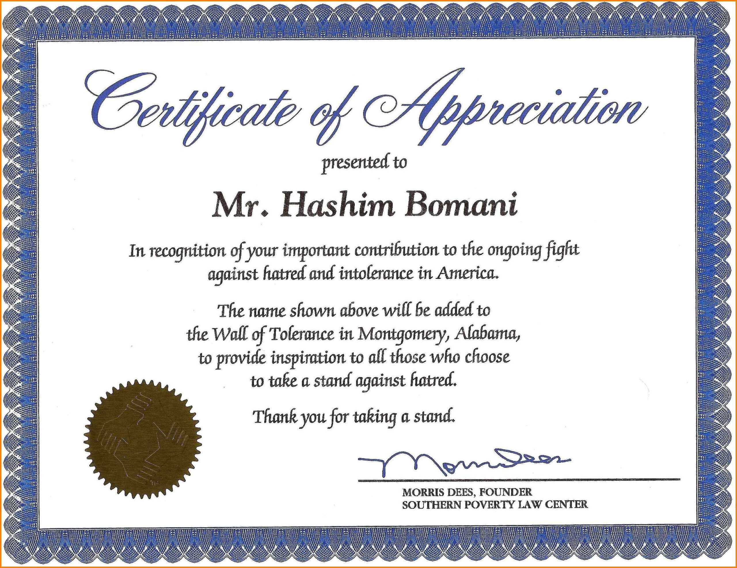 15+ Certificate Of Appreciation In Word Format | Sowtemplate Intended For Certificate Of Recognition Word Template