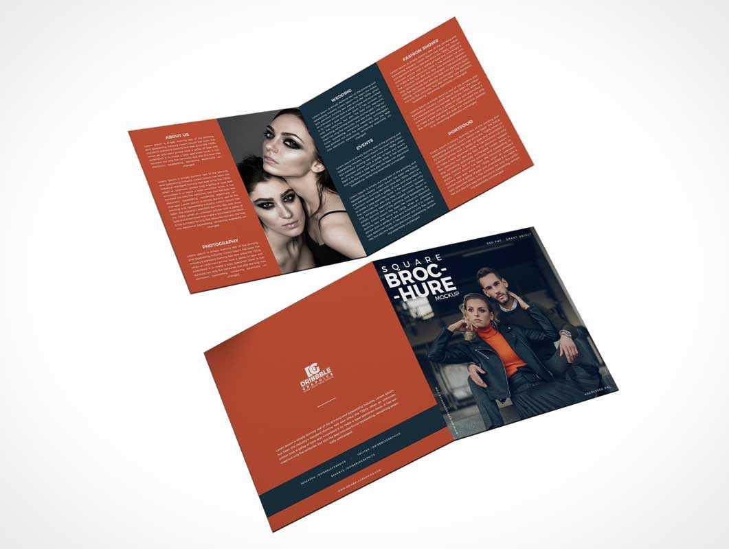 2 Panel Square Bi Fold Brochure Front & Back Psd Mockup Intended For 2 Fold Brochure Template Psd