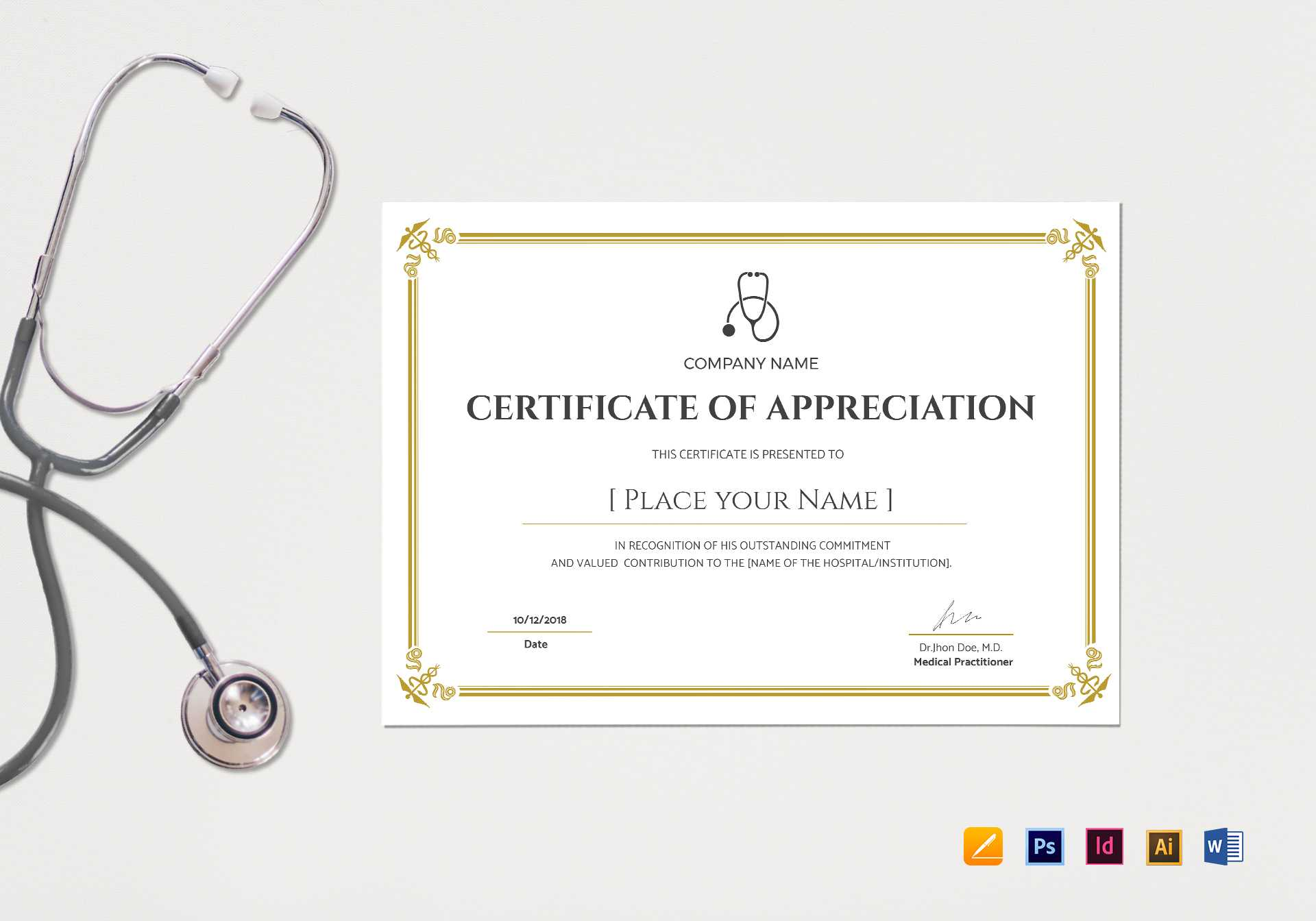 20+ Doctor Certificates Template | Sowtemplate Throughout Mock Certificate Template