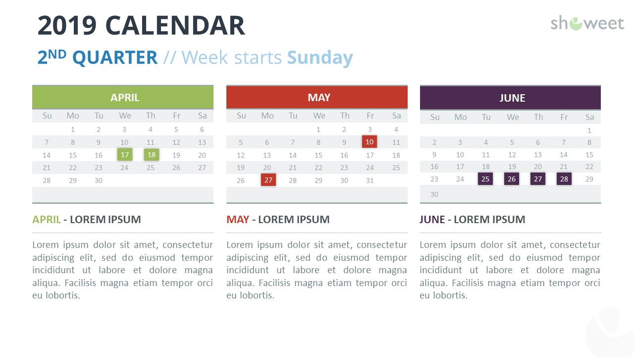 2019 Calendar Powerpoint Templates For Microsoft Powerpoint Calendar Template